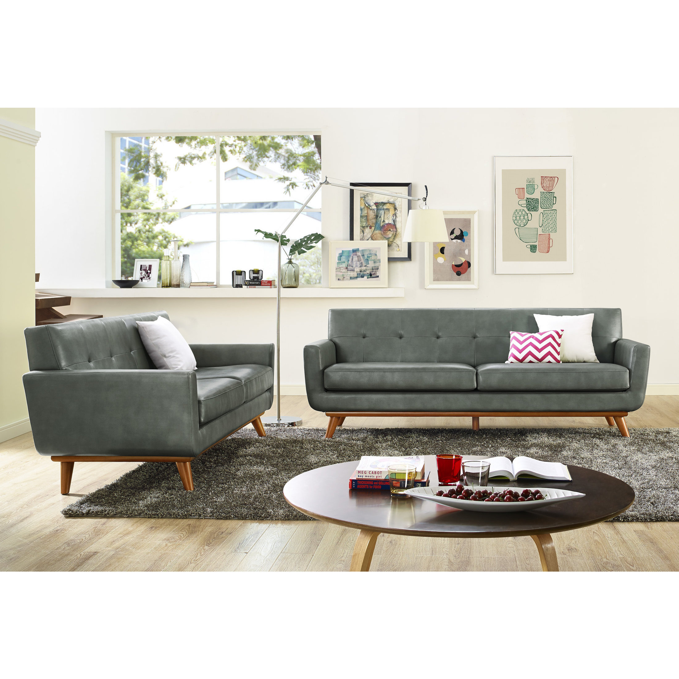 Shop Lyon Smoke Grey Living Room Set - Free Shipping Today ...