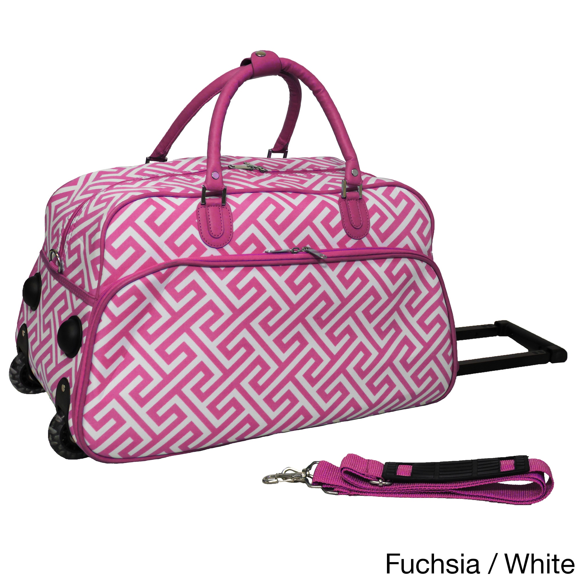 Shop World Traveler Greek Key 21-inch Carry-on Rolling Duffle Bag - Free Shipping On Orders Over $45 - Overstock - 10485084