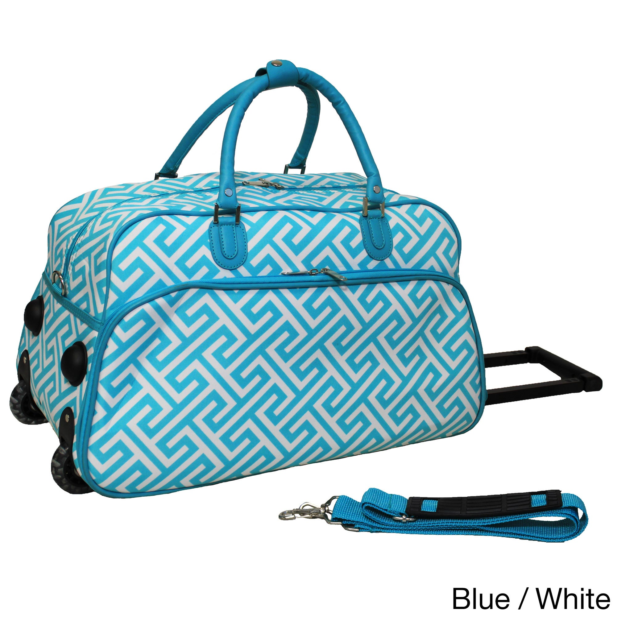 03f3098f7629 Shop World Traveler Greek Key 21-inch Carry-on Rolling Duffle Bag - Free  Shipping On Orders Over  45 - Overstock - 10485084