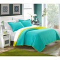 Chic Home Ressa Reversible Color Block 3-piece Quilt and Sham Set