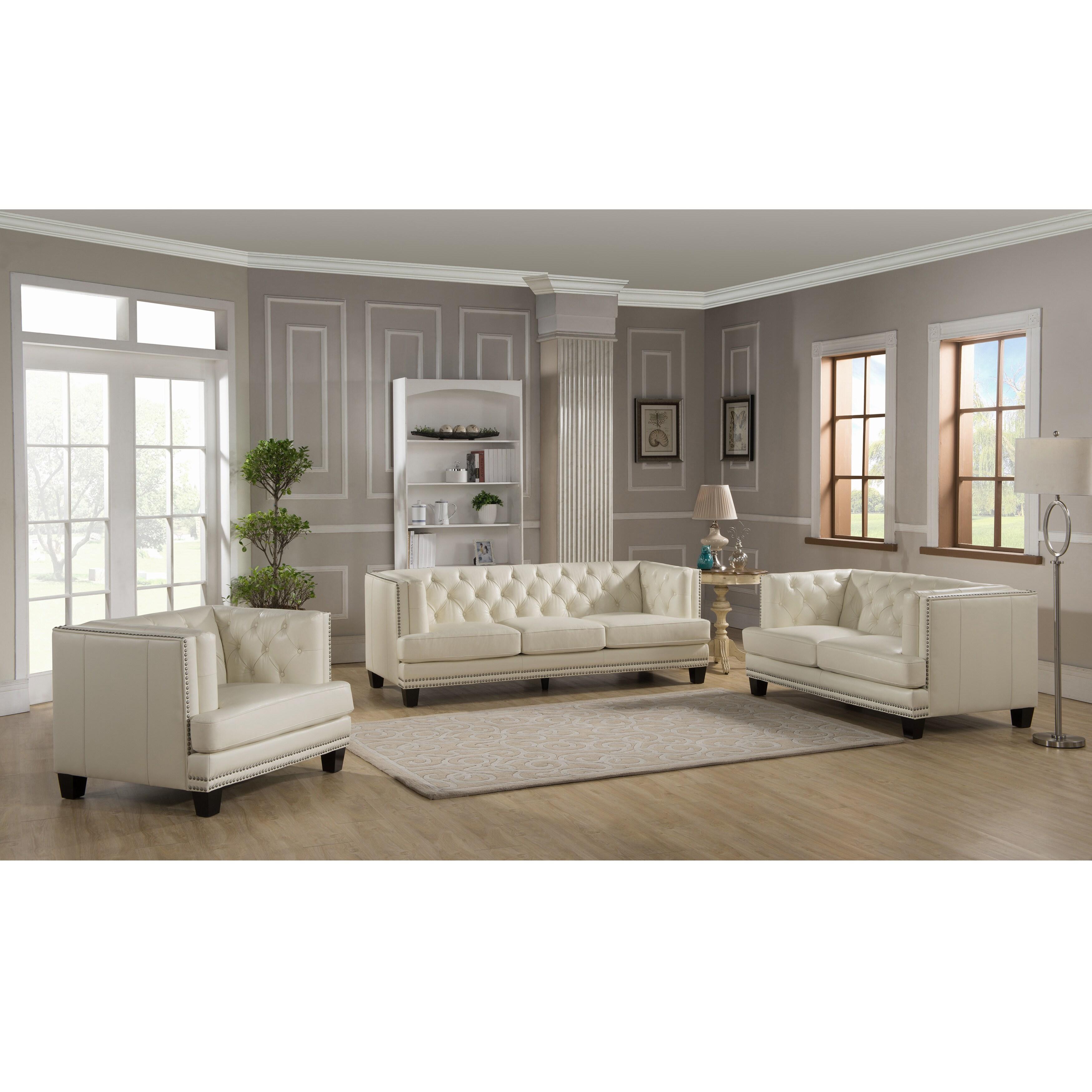 Elle Tufted Premium Cream Top Grain Leather Sofa Loveseat And  ~ Cream Leather Tufted Sofa