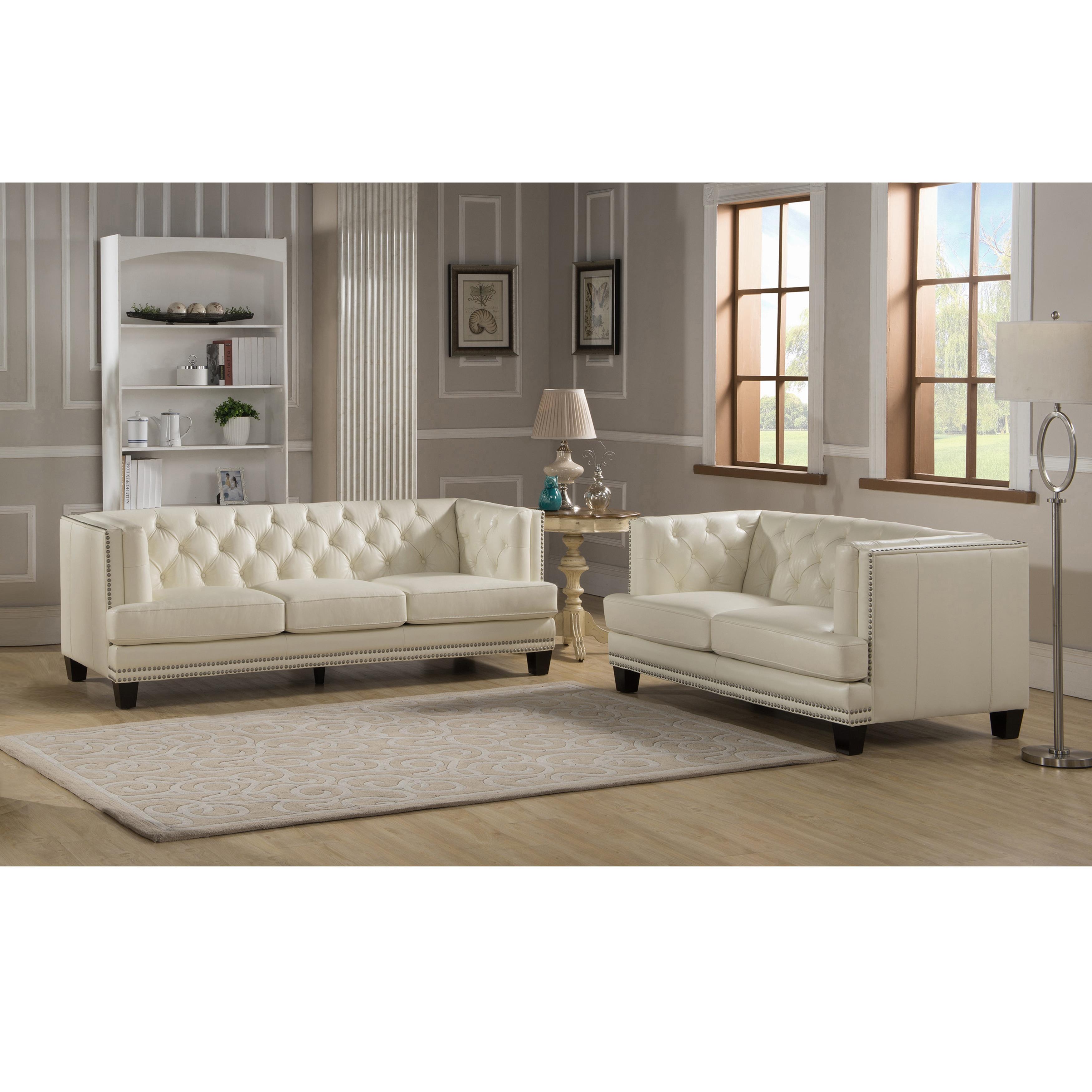 Elle Tufted Premium Cream Top Grain Leather Sofa And Loveseat  ~ Cream Leather Tufted Sofa