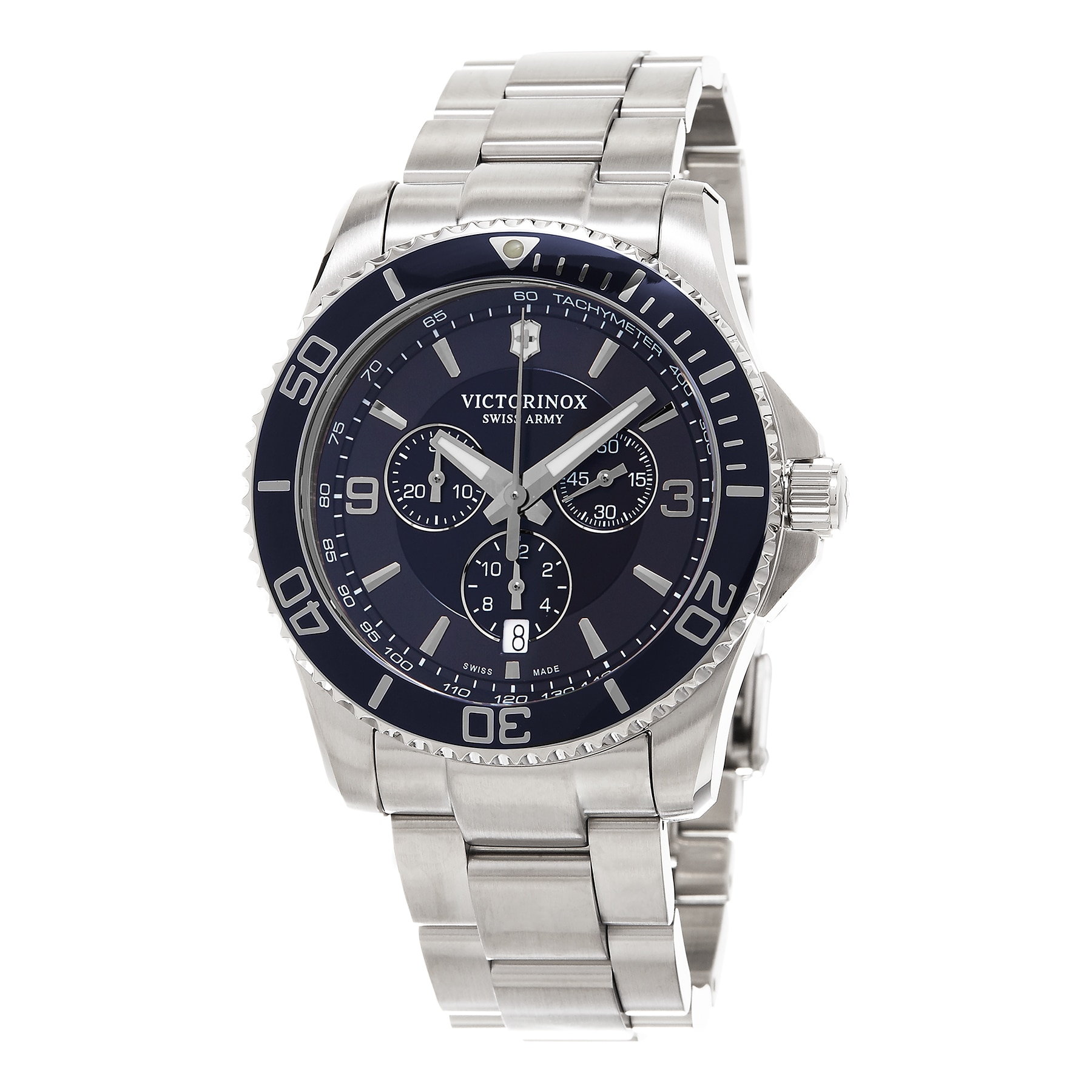 da58b6ea46ba Shop Victorinox Swiss Army Men s 241689  Maverick  Chronograph Stainless  Steel Watch - Free Shipping Today - Overstock - 10489699