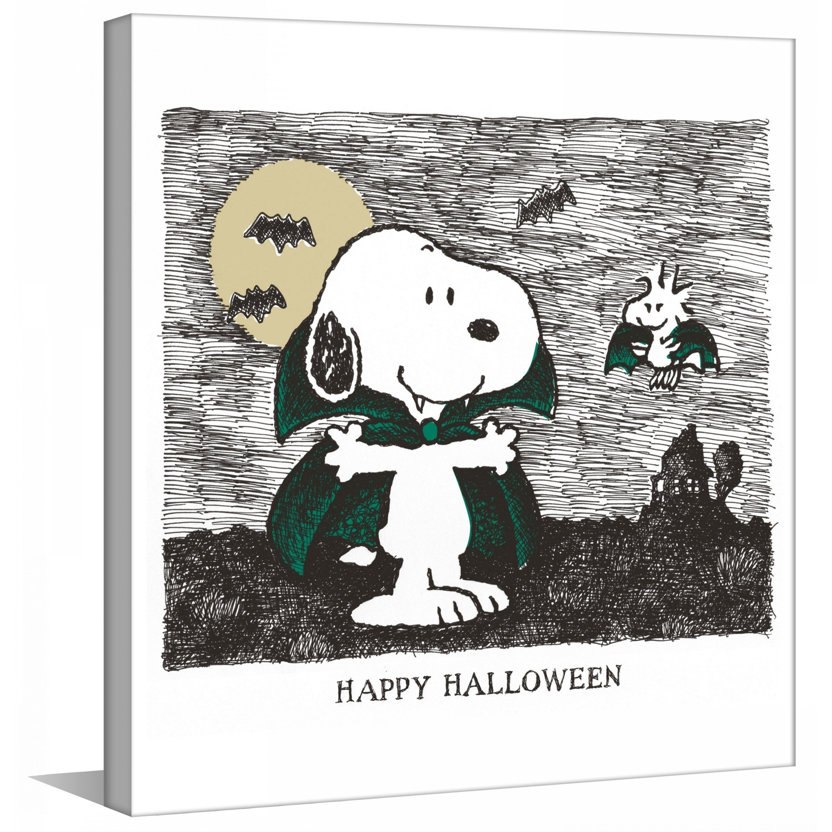 """shop marmont hill - """"happy halloween"""" peanuts print on canvas"""
