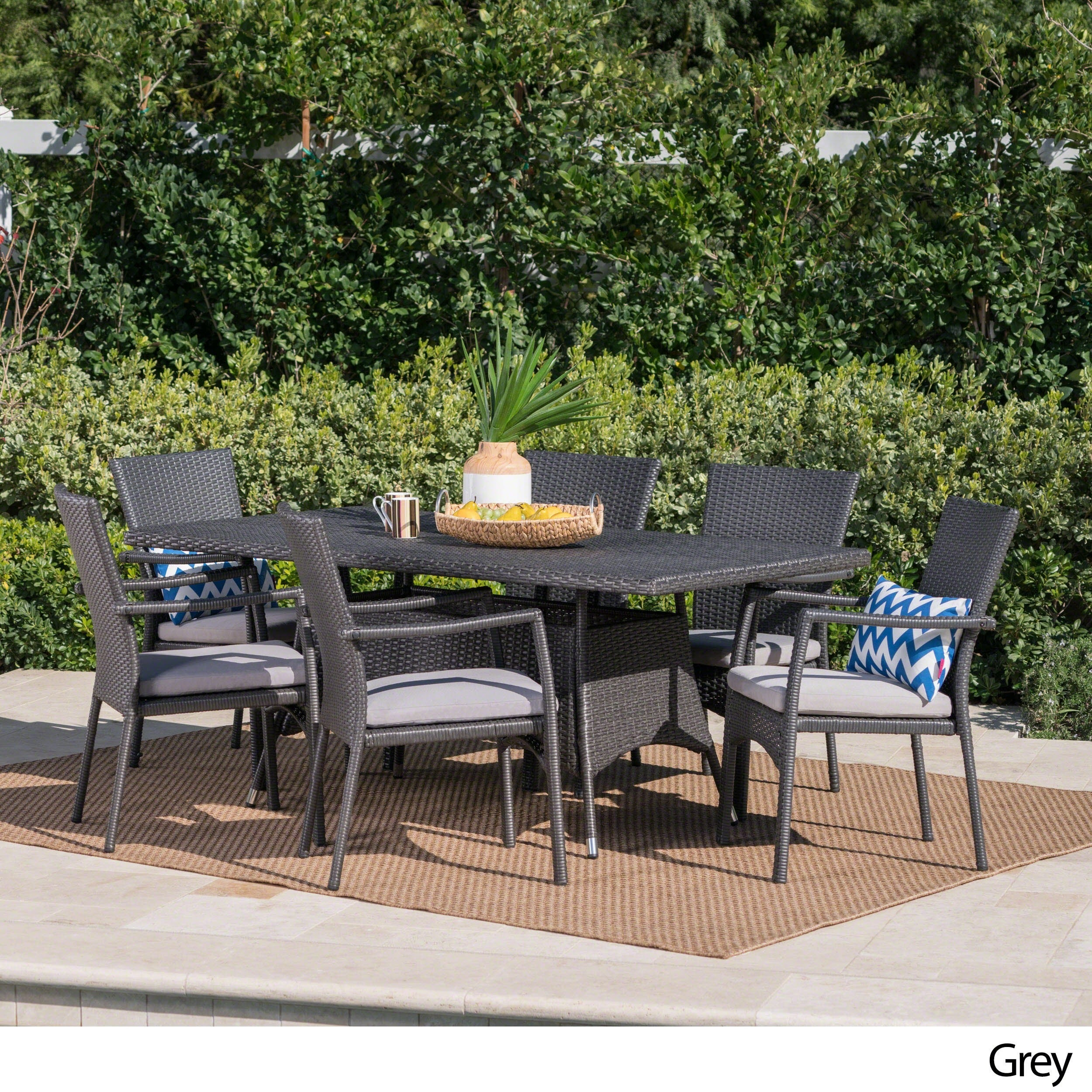 Thompson Outdoor 7 Piece Wicker Dining Set With Cushions By Christopher Knight Home Free Shipping Today 17578089