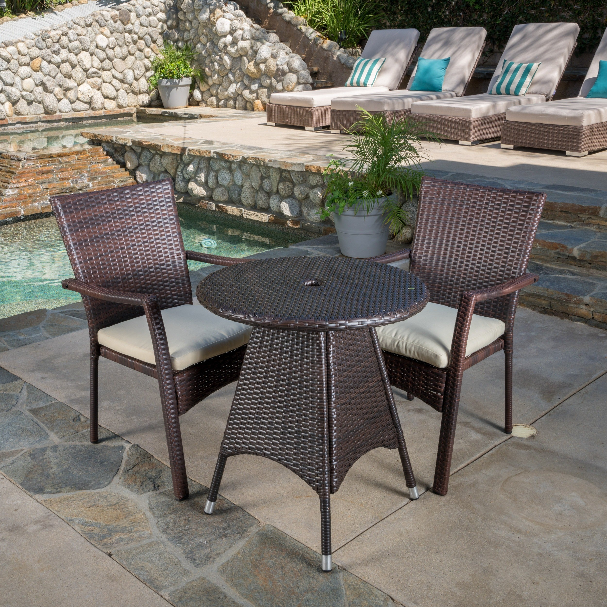 Christopher knight home georgina outdoor 3 piece wicker bistro set with cushions