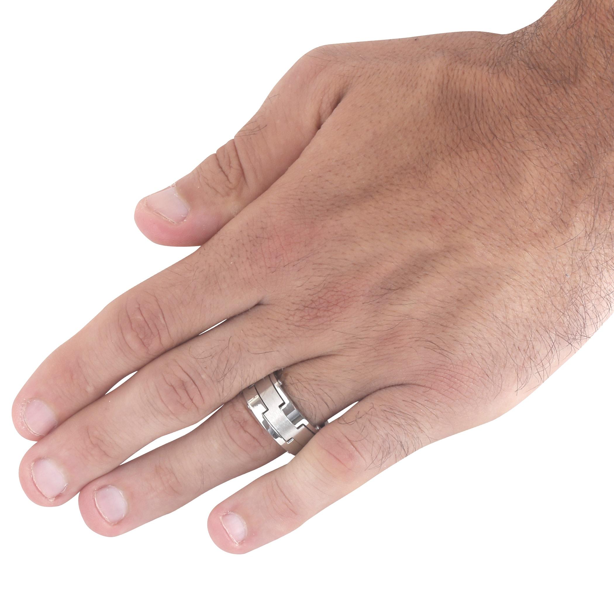 Men\'s Stainless Steel Brushed Laser-Cut Band Ring - White - Free ...