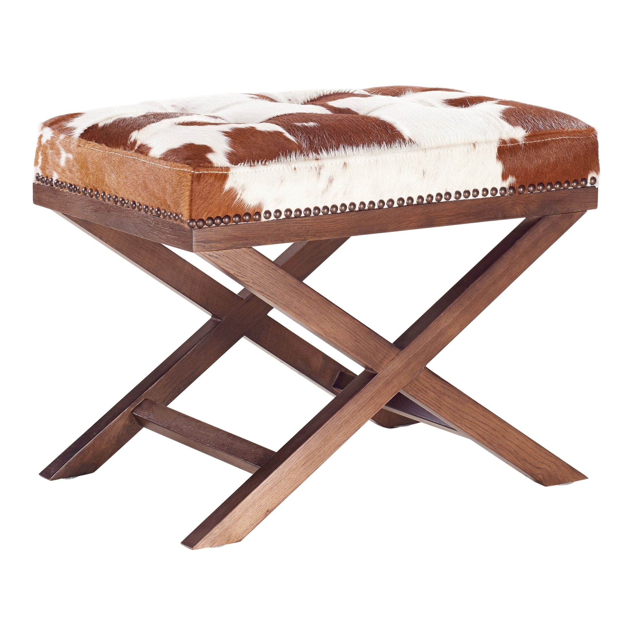 l bare in ottoman large round product leather black white cowhide decor klteya and