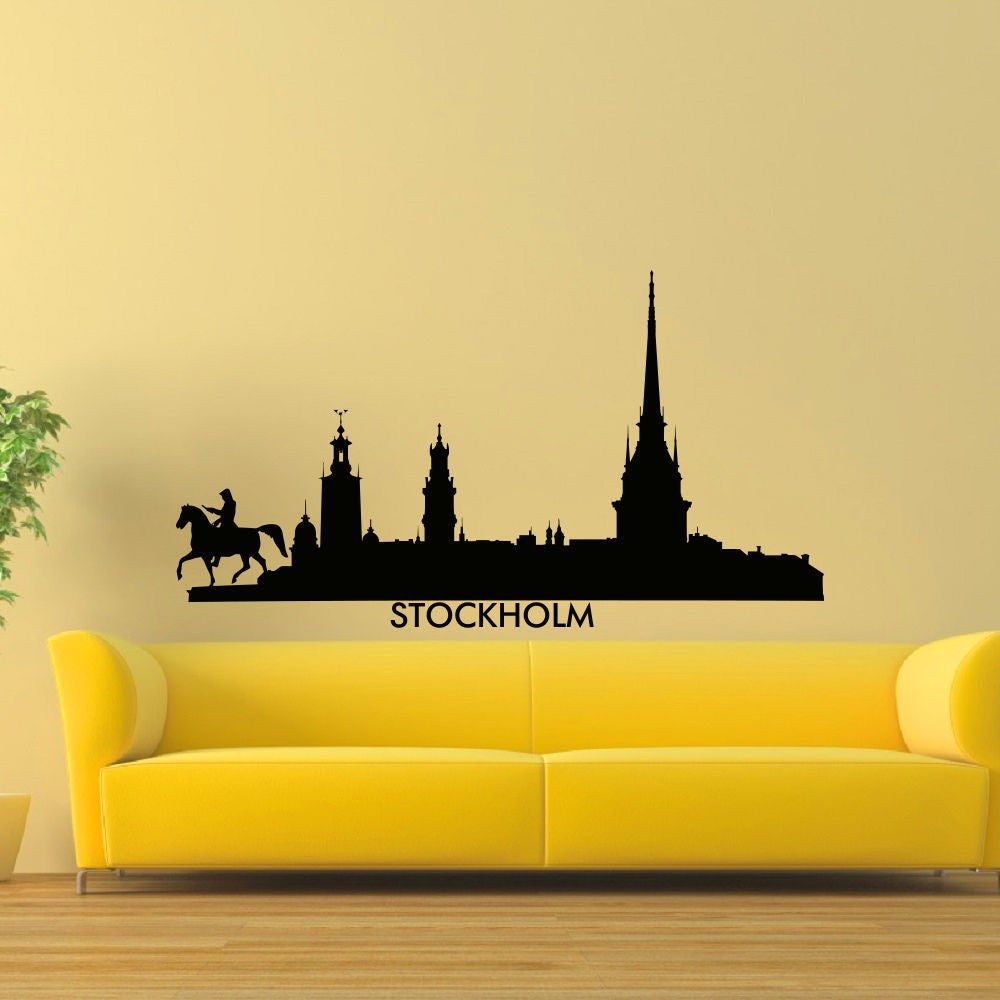 Shop Stockholm Skyline City Silhouette Vinyl Wall Art Decal Sticker ...
