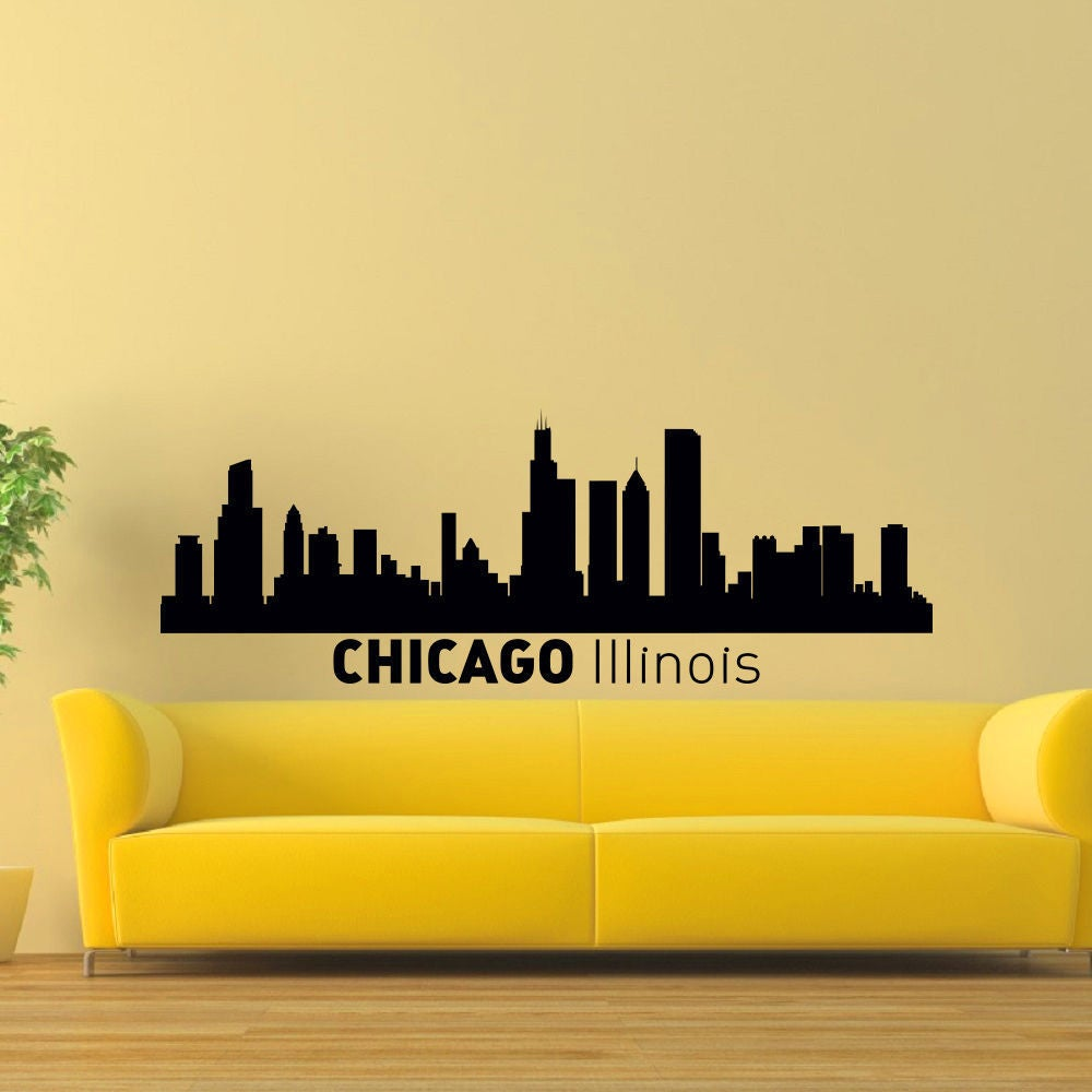 Shop Chicago Illinois Skyline City Silhouette Vinyl Wall Art Decal ...