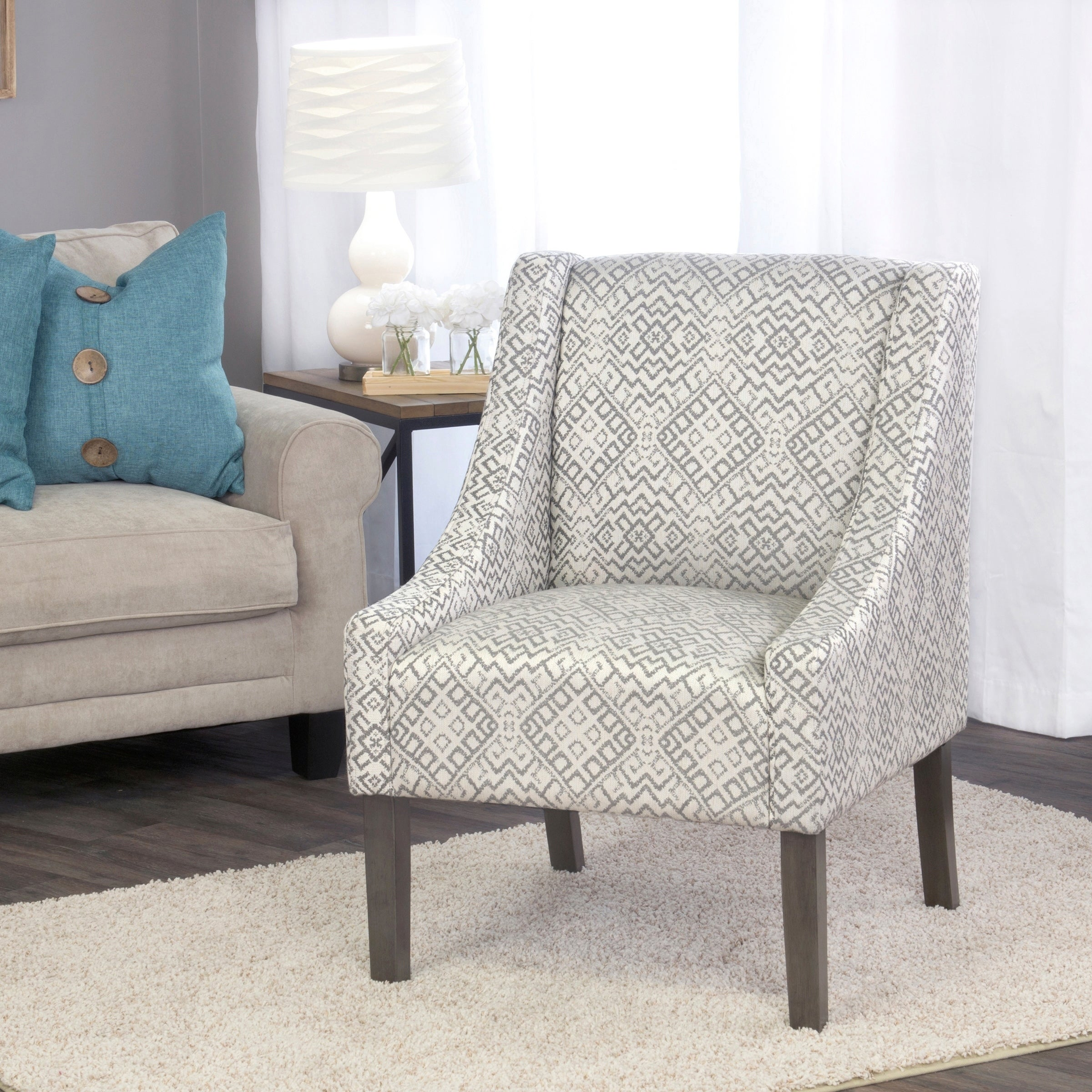 Shop HomePop Swoop Accent Chair in Tonal Gray - On Sale - Free ...