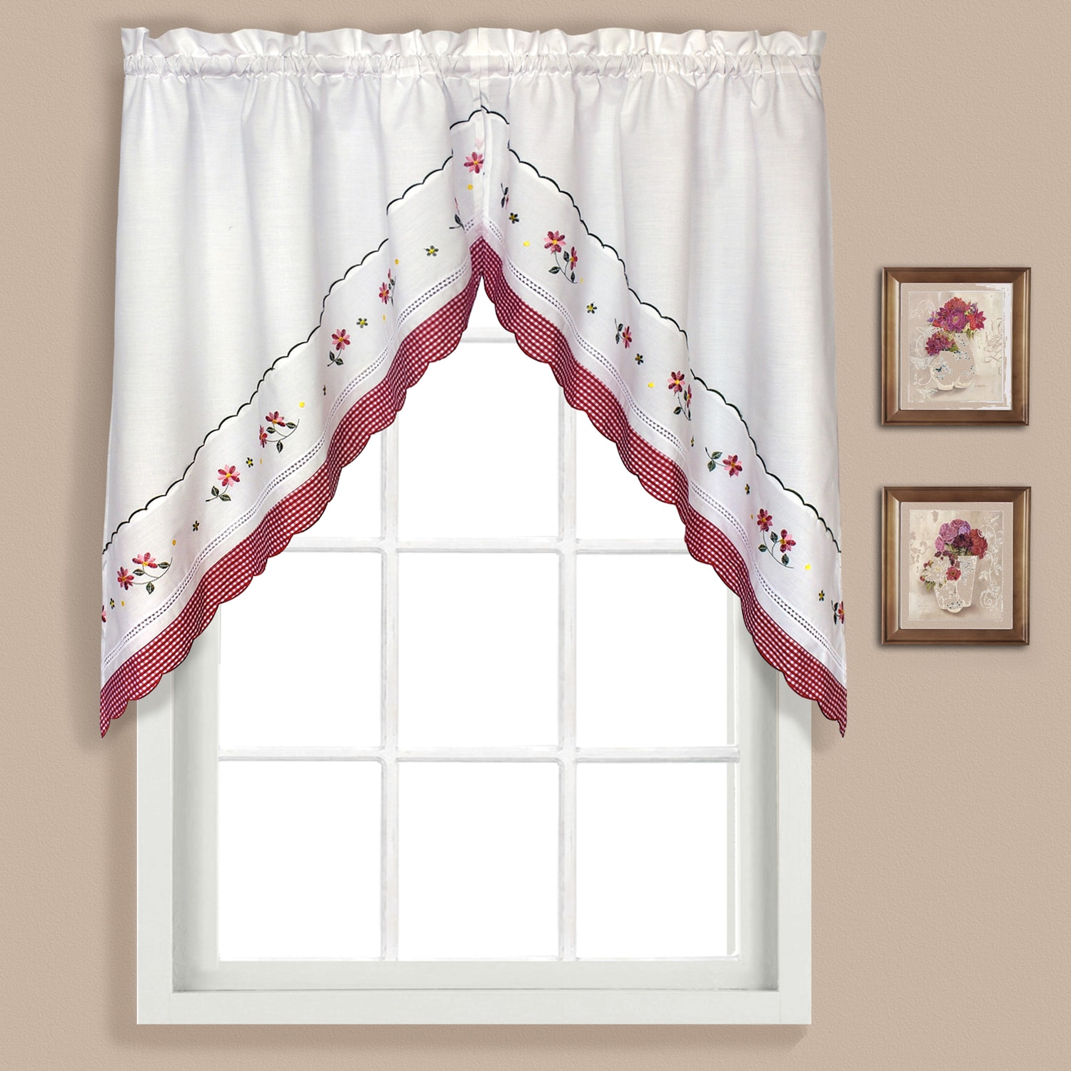 superior Pink Gingham Valance Part - 14: Shop Gingham Kitchen Tiers - Free Shipping On Orders Over $45 -  Overstock.com - 10510788