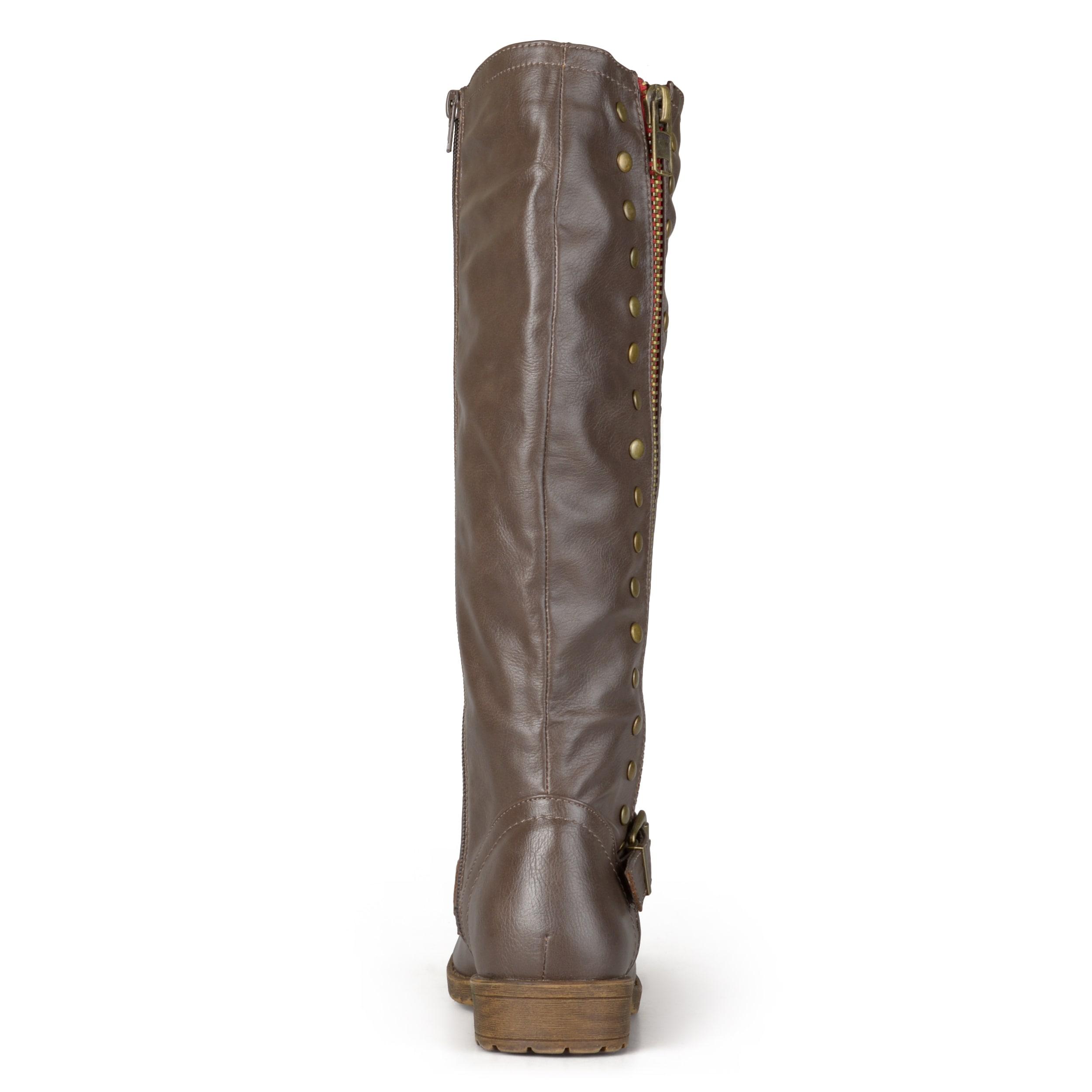 0a5bbb73d681 Shop Journee Collection Women s  Tilt  Regular and Wide Calf Studded Zipper Riding  Boots - Free Shipping Today - Overstock.com - 10511472