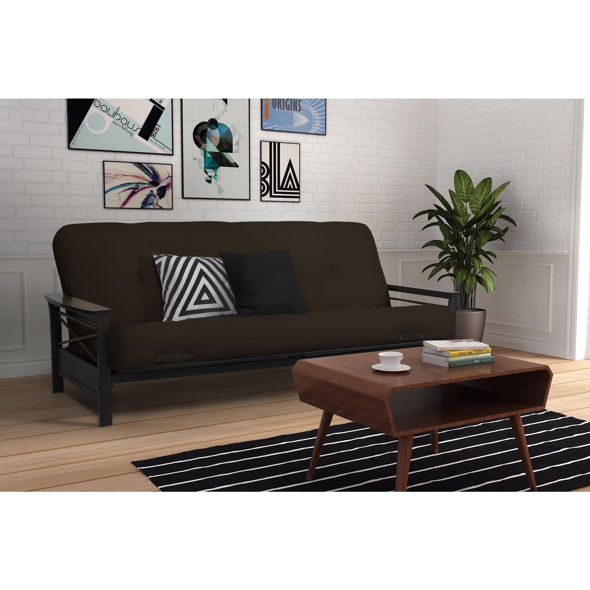 Dhp Nadine Metal Futon Frame With Espresso Wood Armrests Free Shipping Today