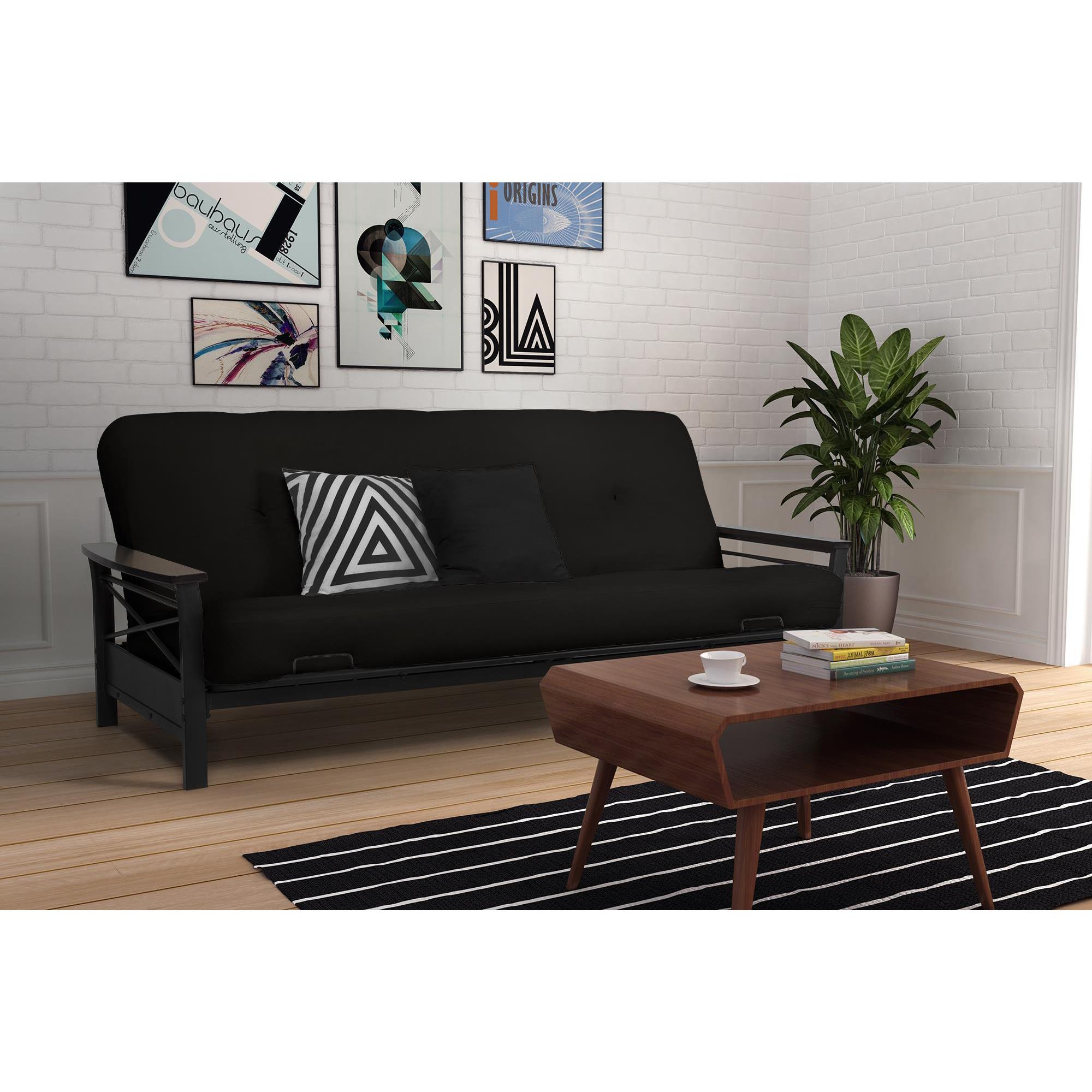 queen frame wood acke with cup holders leather info black futon futons cover target metal