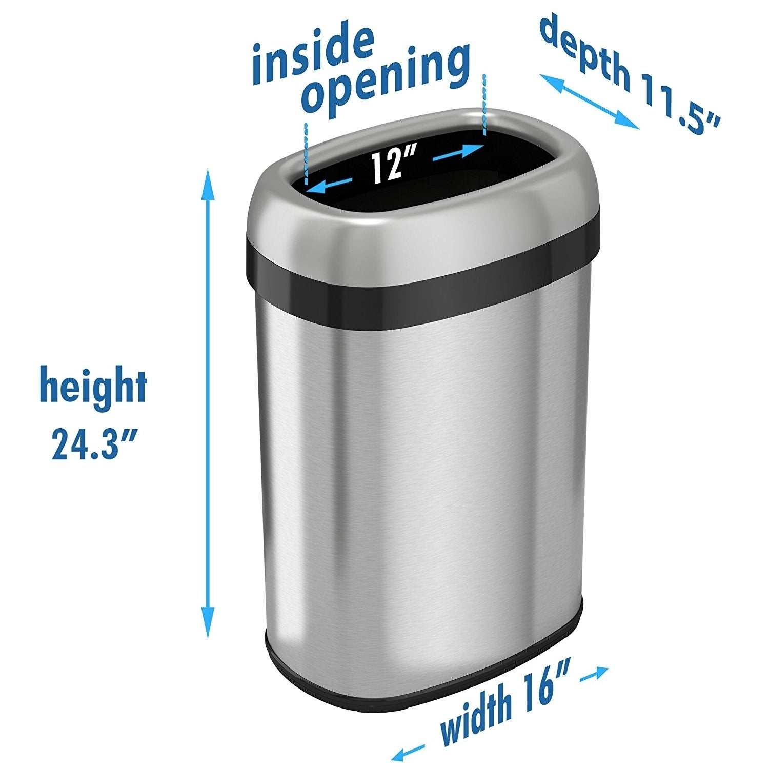 Dual Deodorizer Oval Open Top Stainless Steel Commercial Trash Can   Free  Shipping Today   Overstock.com   10512787