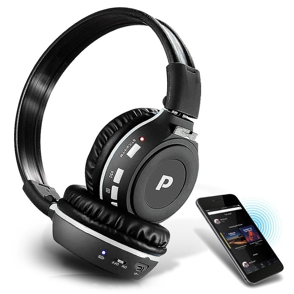 b52194a8533 Shop Pyle PHPMP39 Sound 7 Bluetooth Wireless FM Radio/ SD Memory Card  Reader MP3 Headphones with Built-in Microphone Black - Free Shipping On  Orders Over ...