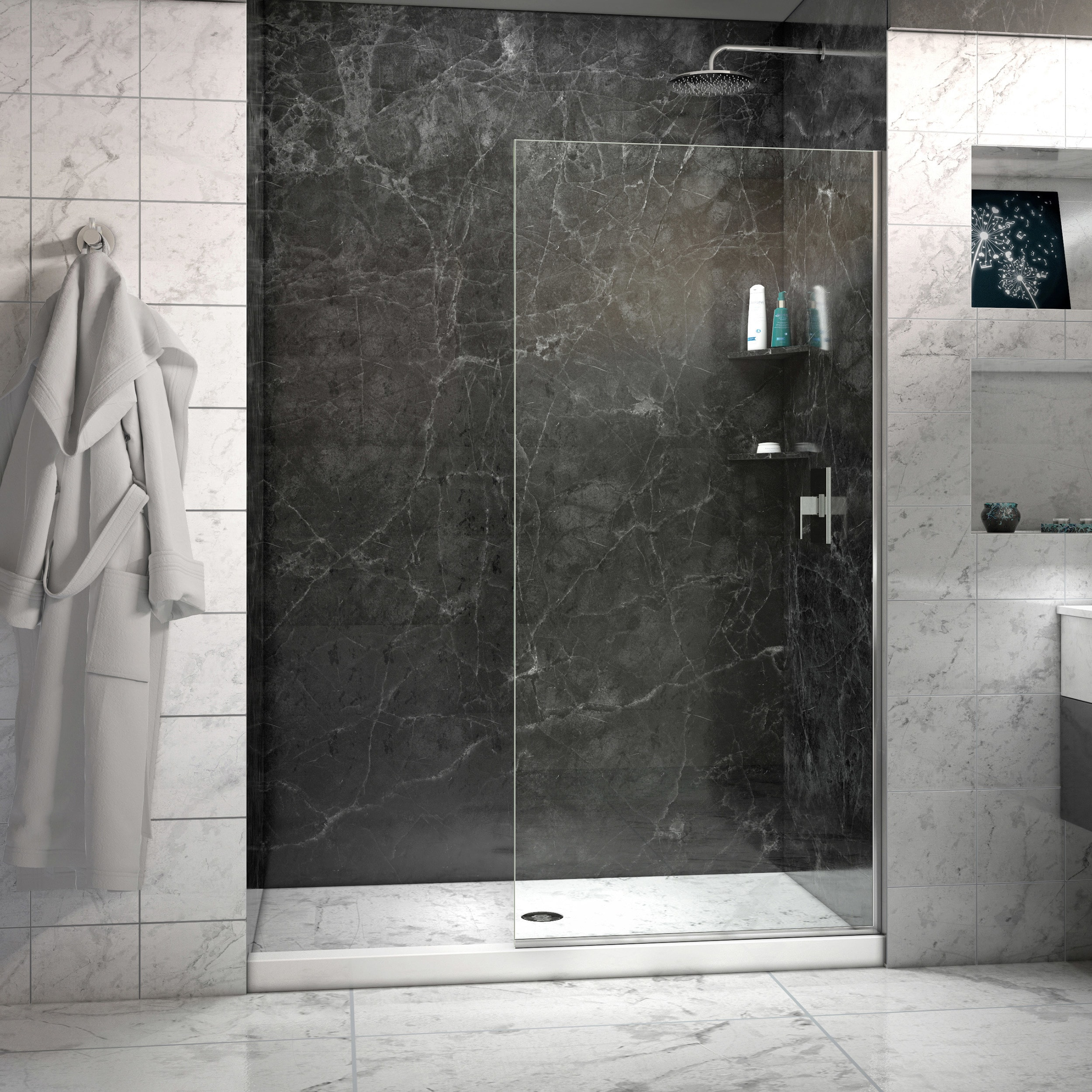 Linea Frameless Shower Door 34 In X 72 Open Entry Design Free Shipping Today 10515037