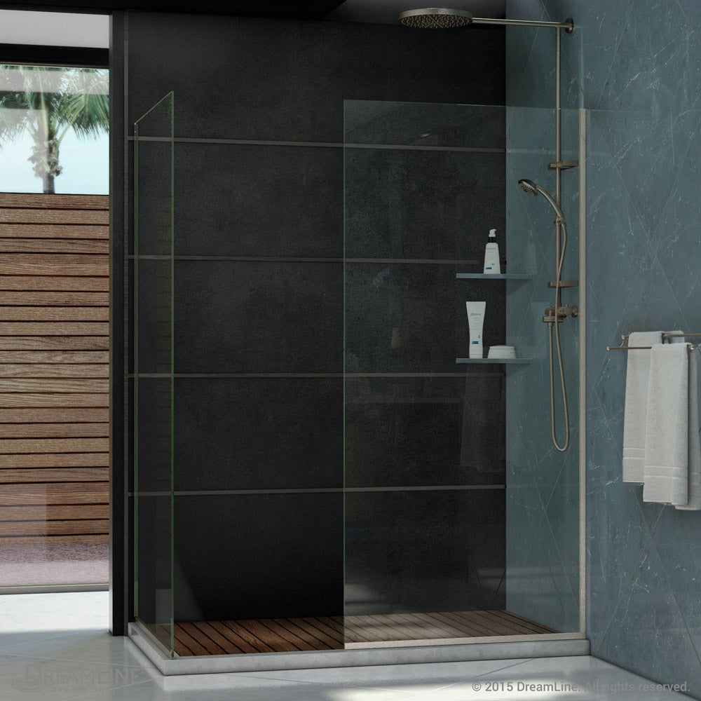 Shop Linea Frameless Shower Door. Two Glass Panels - Free Shipping ...