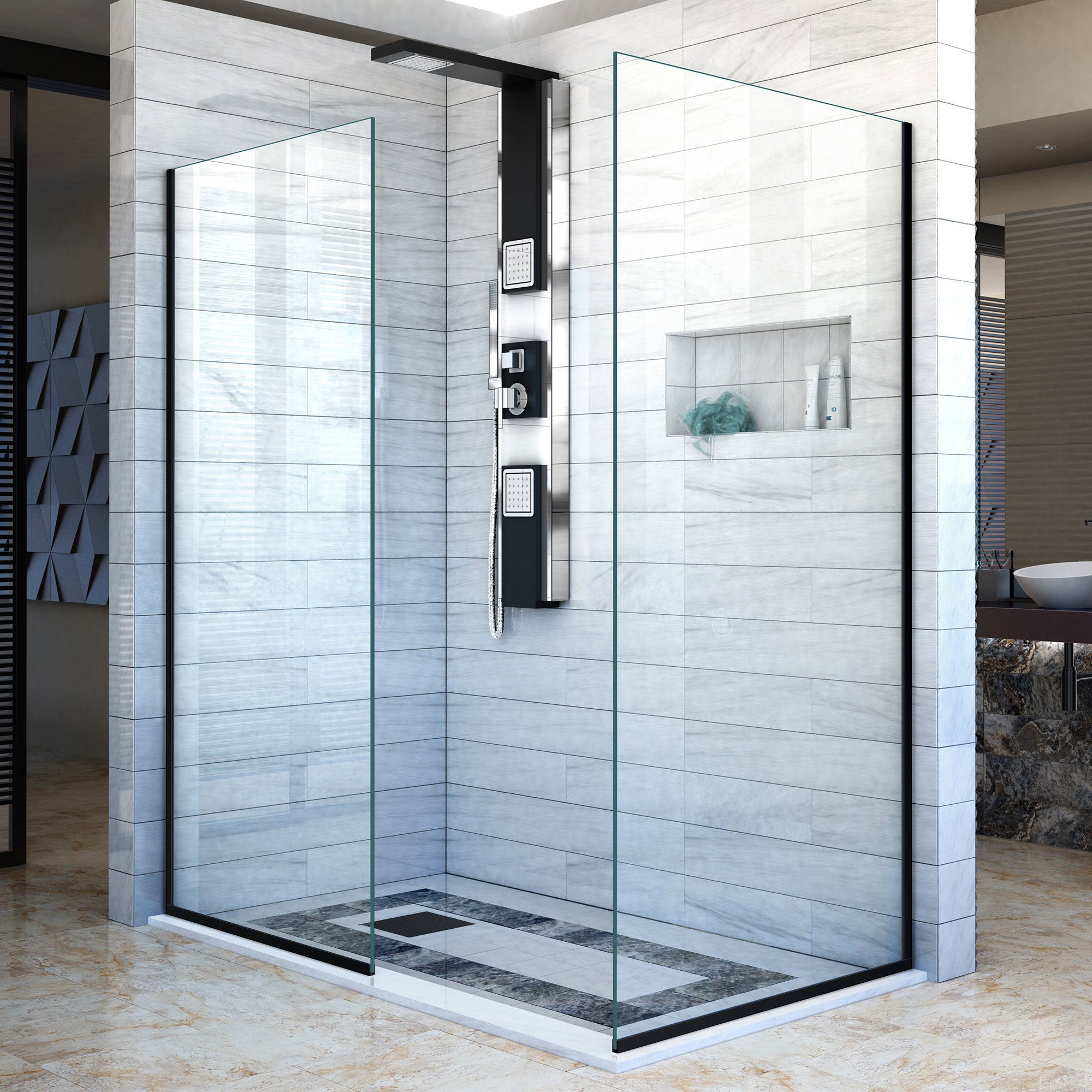 Linea Frameless Shower Door. Two Glass Panels - Free Shipping Today ...