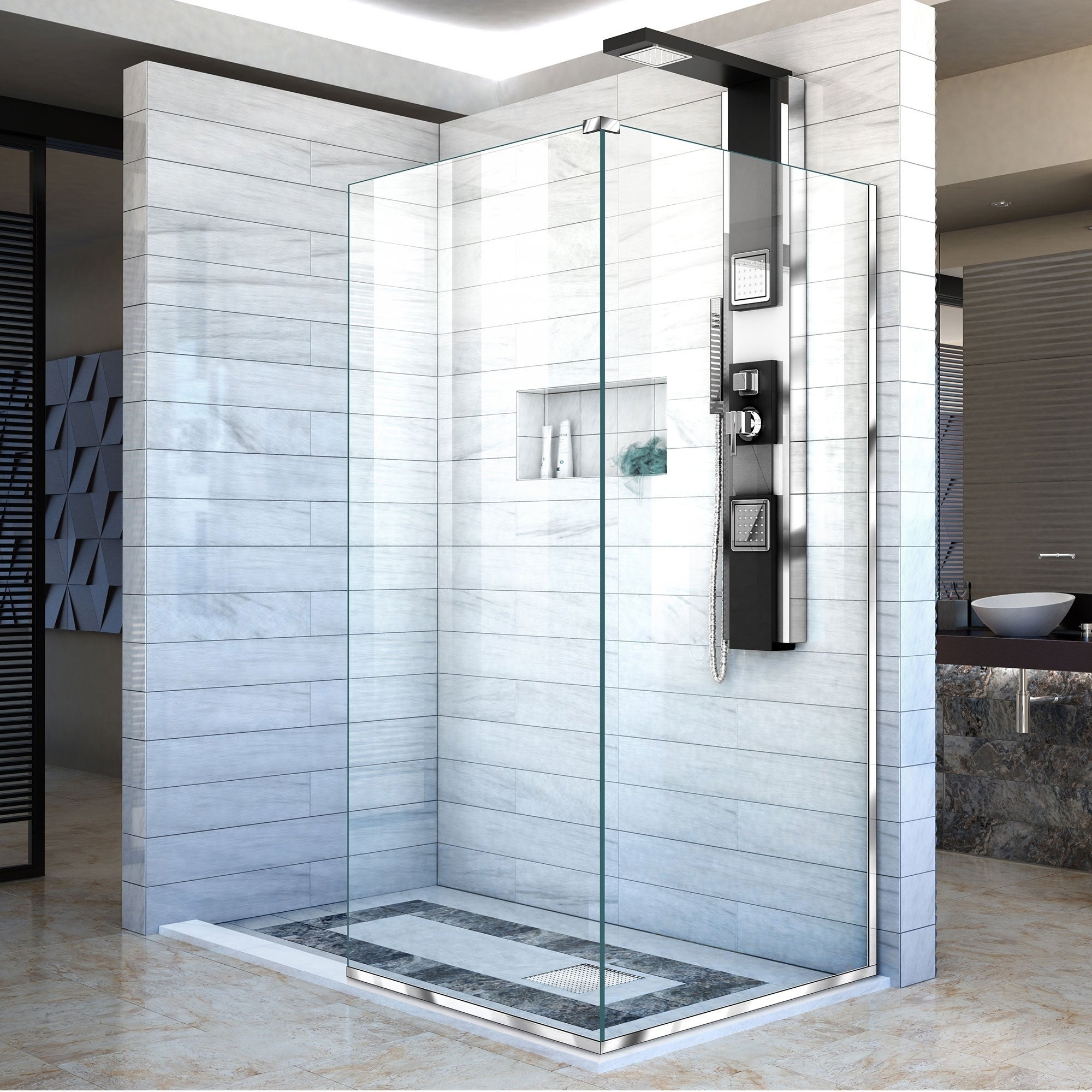 Shop DreamLine Linea Two Adjacent Frameless Shower Screens 34 in. W ...