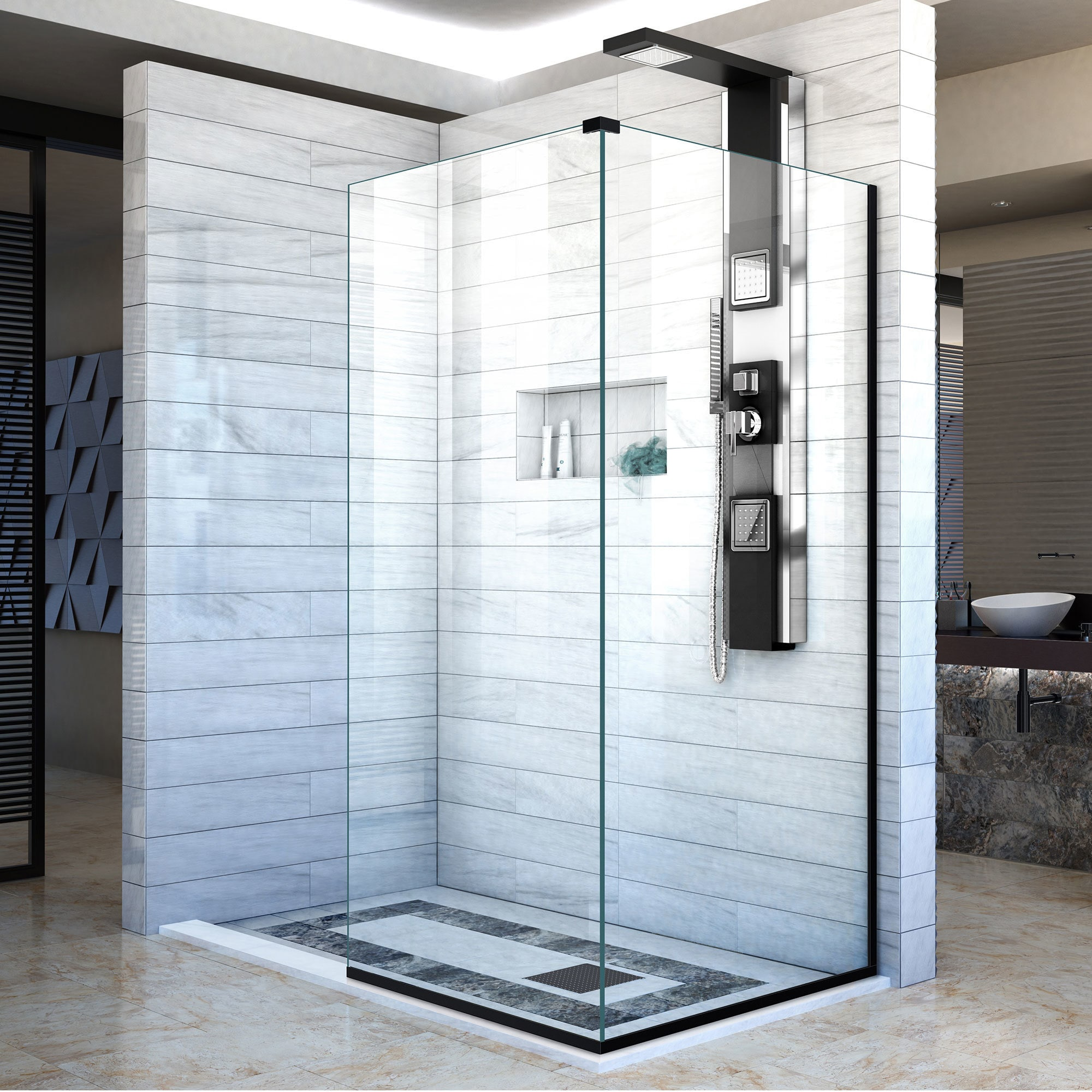 Shop Linea Frameless Shower Door. Two Attached Glass Panels: 30 in ...