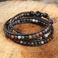 Handcrafted Silver Leather 'Inner Nature' Jasper Bracelet (Thailand)