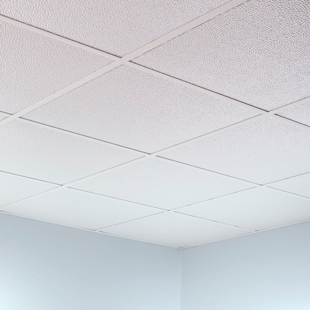 Shop Fasade Hammered Matte White 2 Foot Square Lay In Ceiling Tile