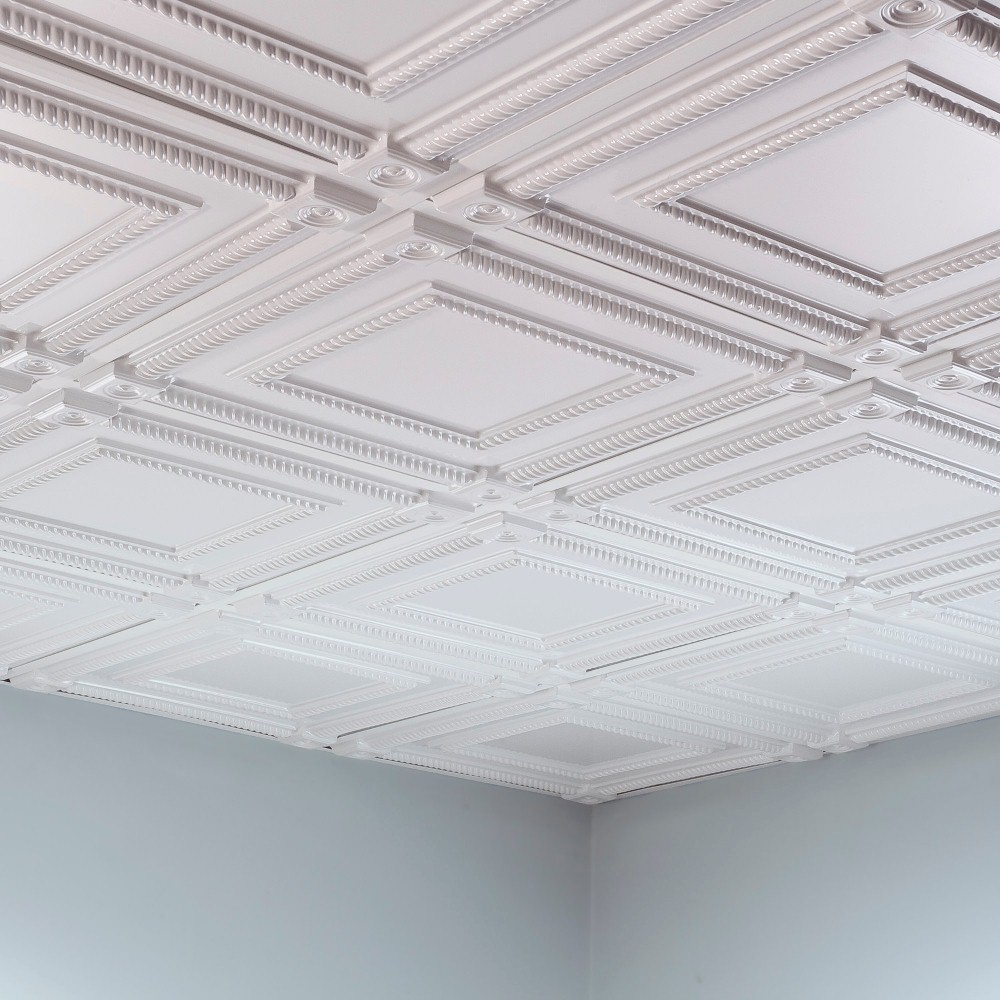Shop Fasade Coffer Gloss White 2 Foot Square Lay In Ceiling Tile