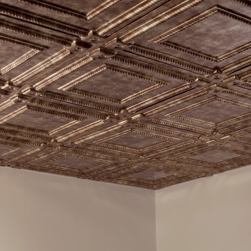 Shop Fasade Coffer Bermuda Bronze 2 Foot Square Lay In Ceiling Tile