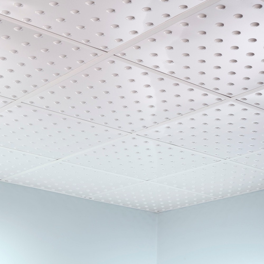 Fasade Dome Gloss White 2 Foot Square Lay In Ceiling Tile Free