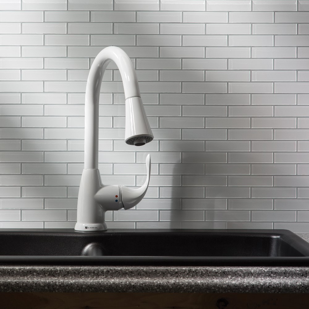 Aspect Glass 12x4-inch Matted Subway Tile in Frost Peel & Stick ...