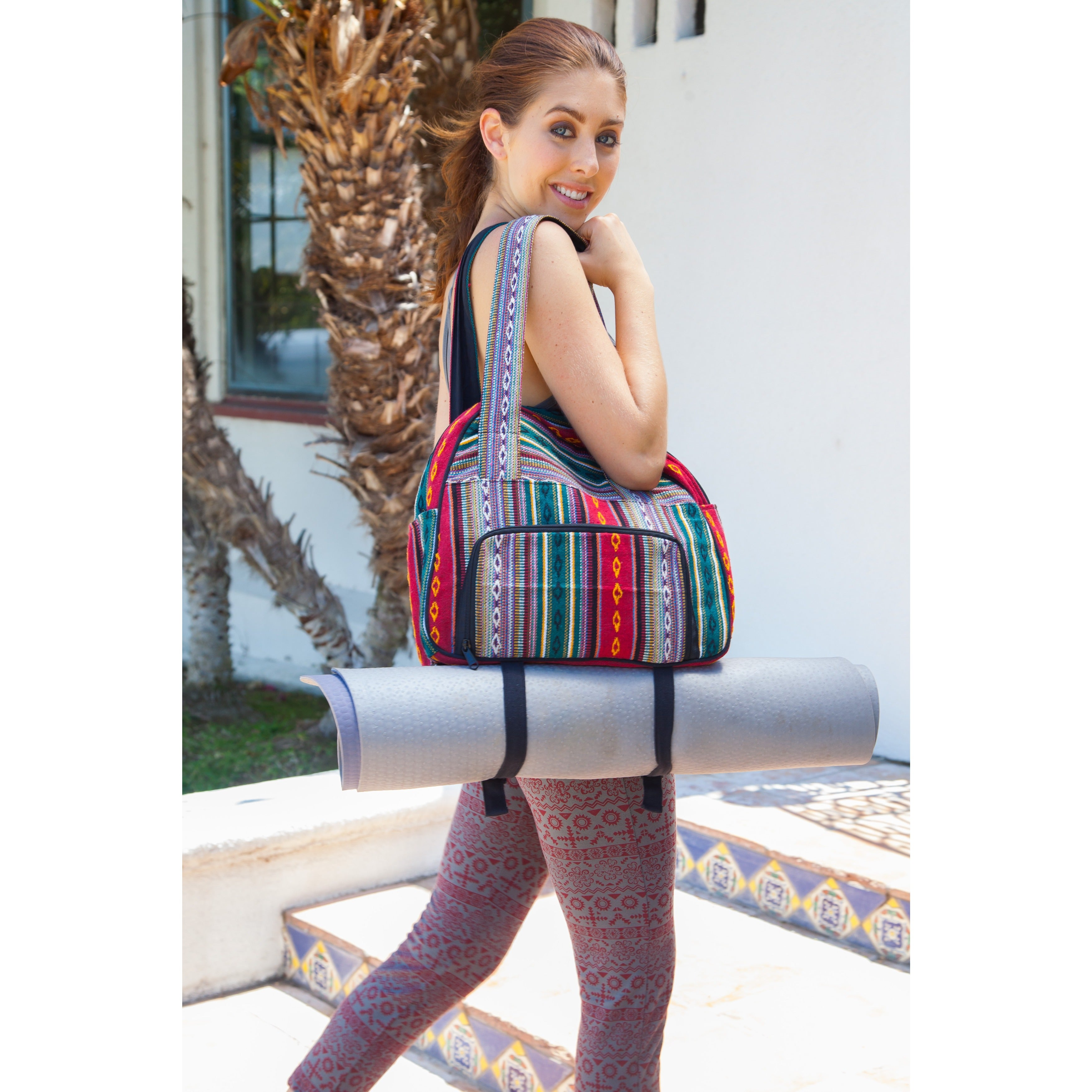 fa86d3374812 Shop Handmade Vintage Tribal Stripe Gym Bag with Yoga Mat Harness (Nepal) -  Free Shipping On Orders Over  45 - Overstock - 10518113
