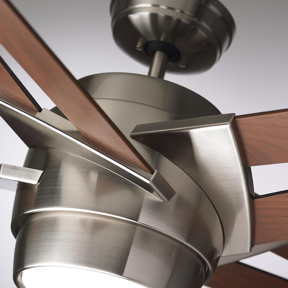 Emerson Luxe Eco 54 Inch Walnut Blades Brushed Steel Modern Ceiling Fan Free Today 17602042