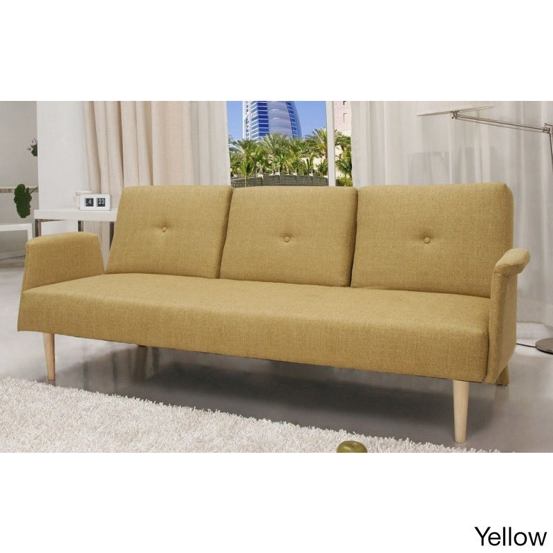 Contemporary Home Design Fabric Mid Century Sofa Bed With Cup Holder   Free  Shipping Today   Overstock.com   17602280