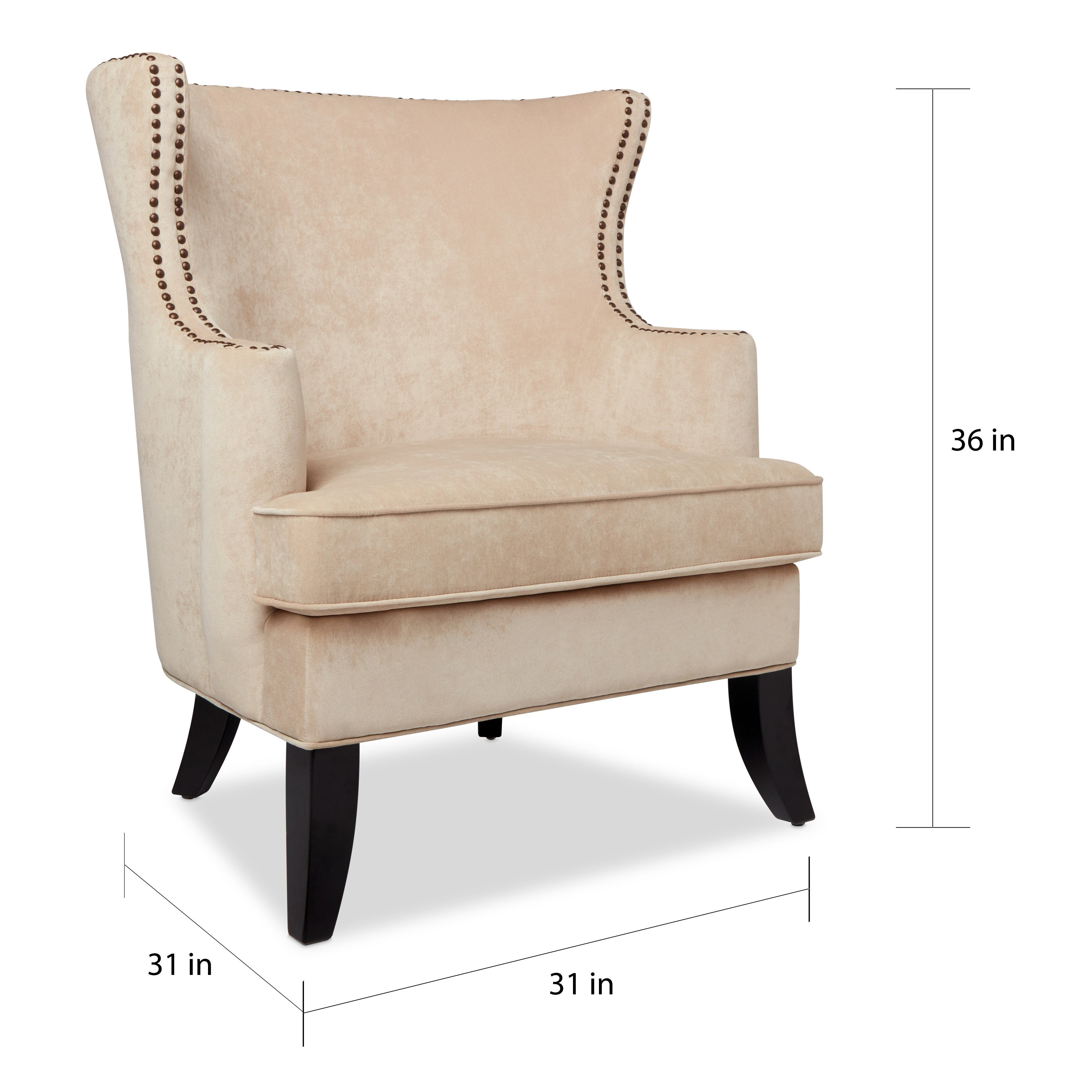 Charmant Shop Abbyson Lauren Beige Velvet Nailhead Armchair   On Sale   Free  Shipping Today   Overstock.com   10518452