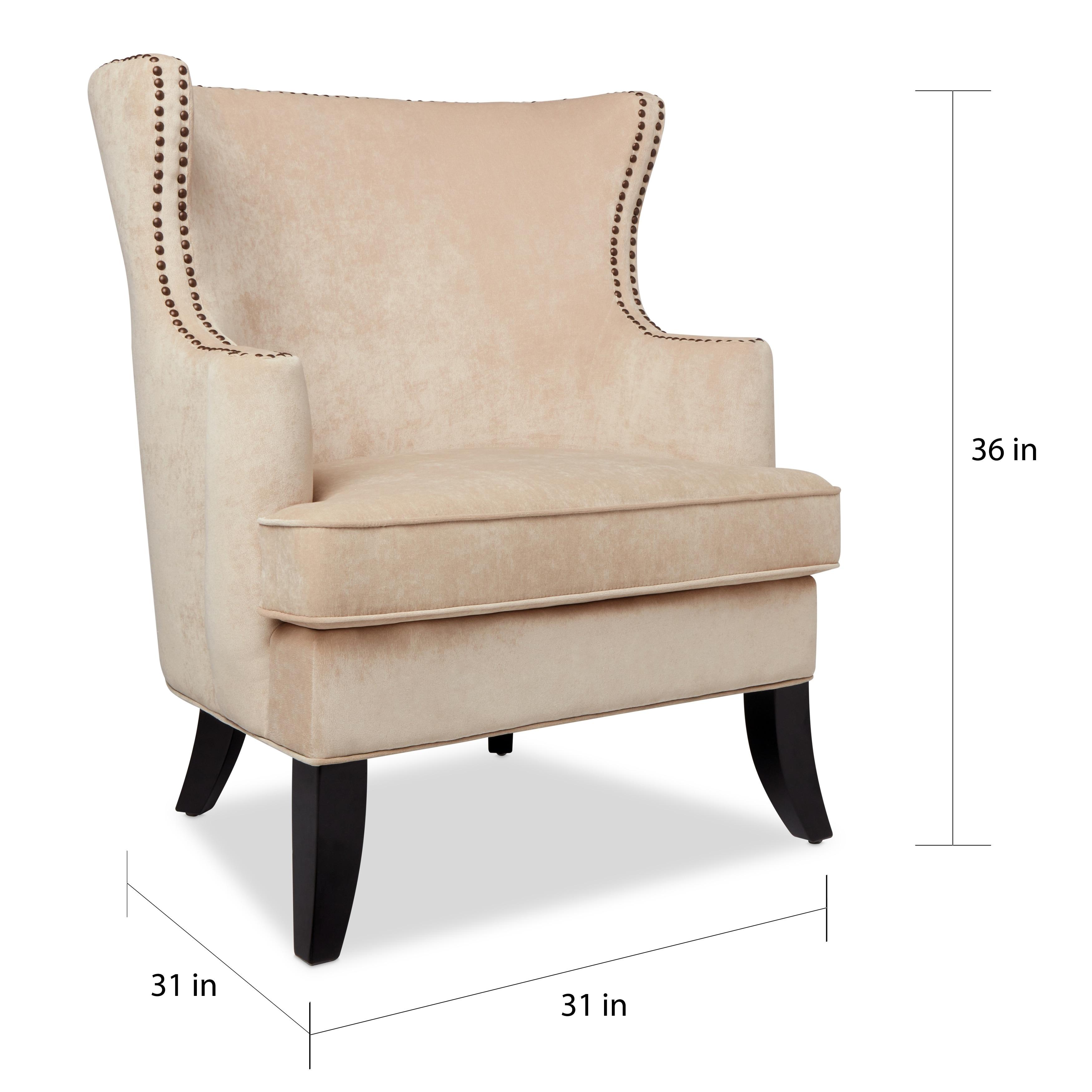 Charmant Shop Abbyson Lauren Beige Velvet Nailhead Armchair   On Sale   Free  Shipping Today   Overstock.com   10518452