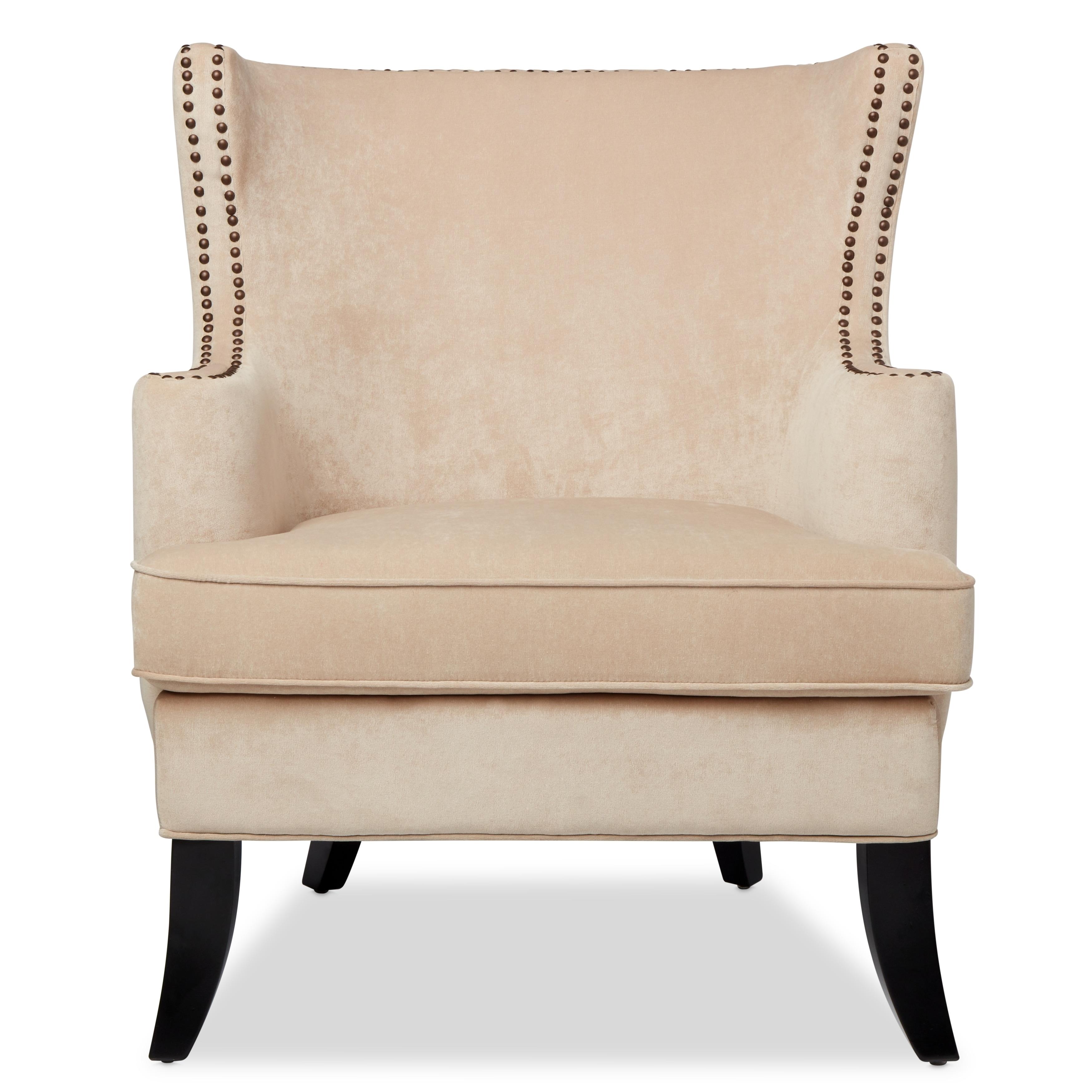 Beau Shop Abbyson Lauren Beige Velvet Nailhead Armchair   On Sale   Free  Shipping Today   Overstock.com   10518452