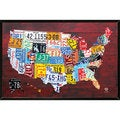 Mounted License Plate Map of the US 24 x 36-inch Wood Plaque
