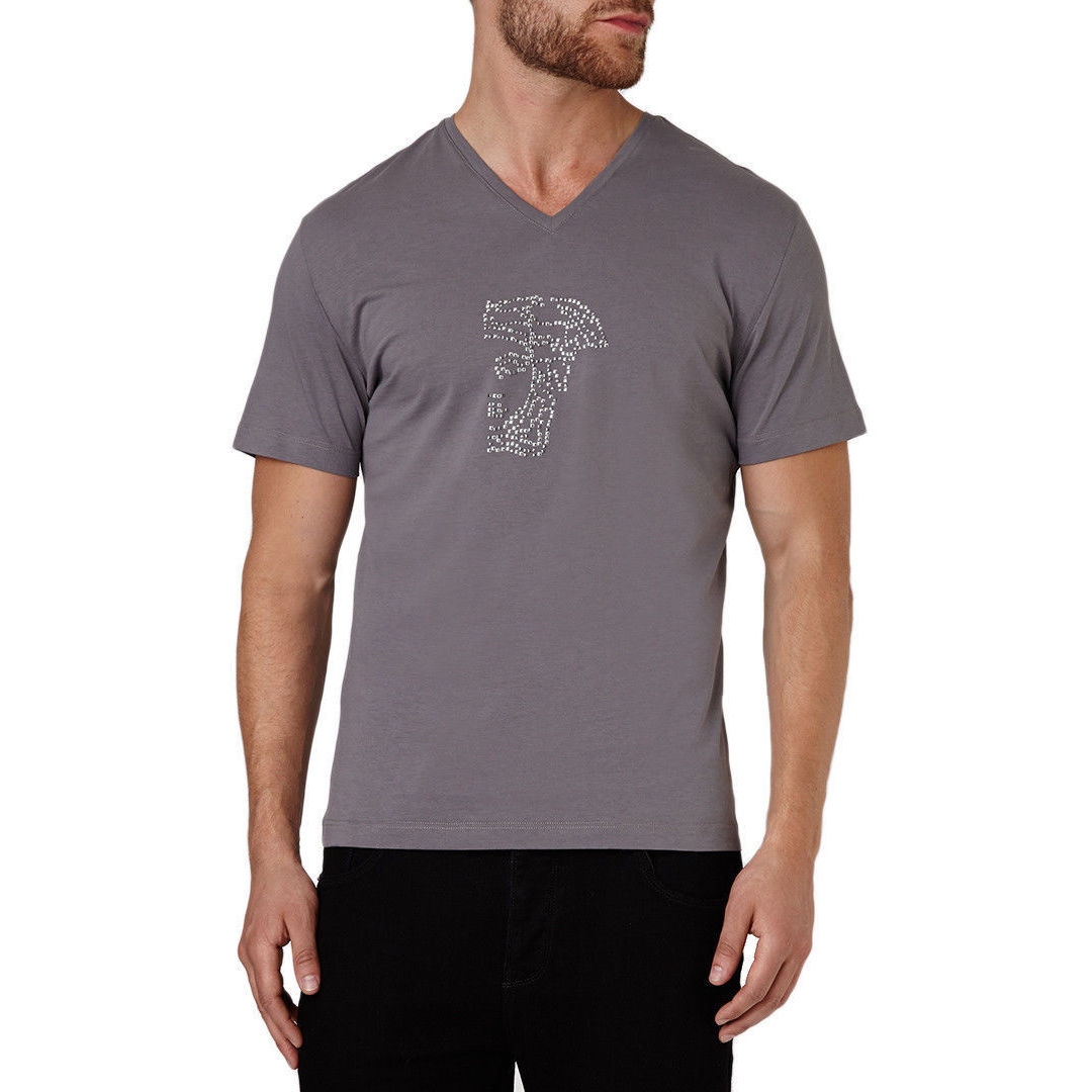 194ec72cb1e Shop Versace Men s Grey Cotton Studded Medusa Short Sleeve T-shirt - Free  Shipping Today - Overstock - 10521050