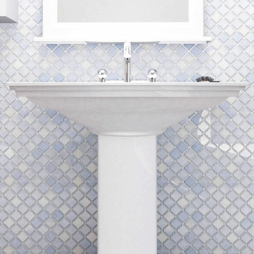 Shop SomerTile 12.375x12.5-inch Antaeus Frost Blue Porcelain Mosaic ...