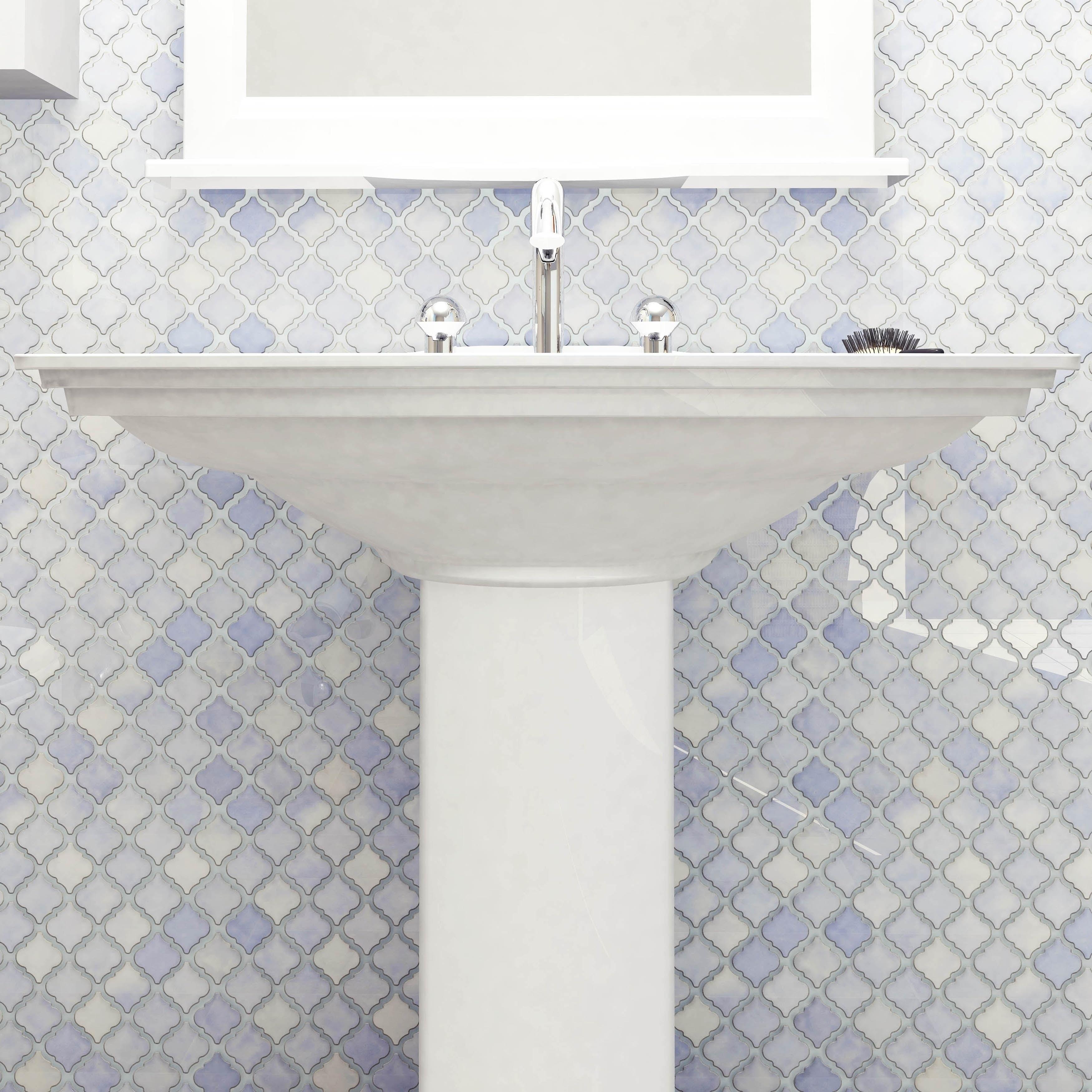 SomerTile 12.375x12.5-inch Antaeus Frost Blue Porcelain Mosaic Floor ...