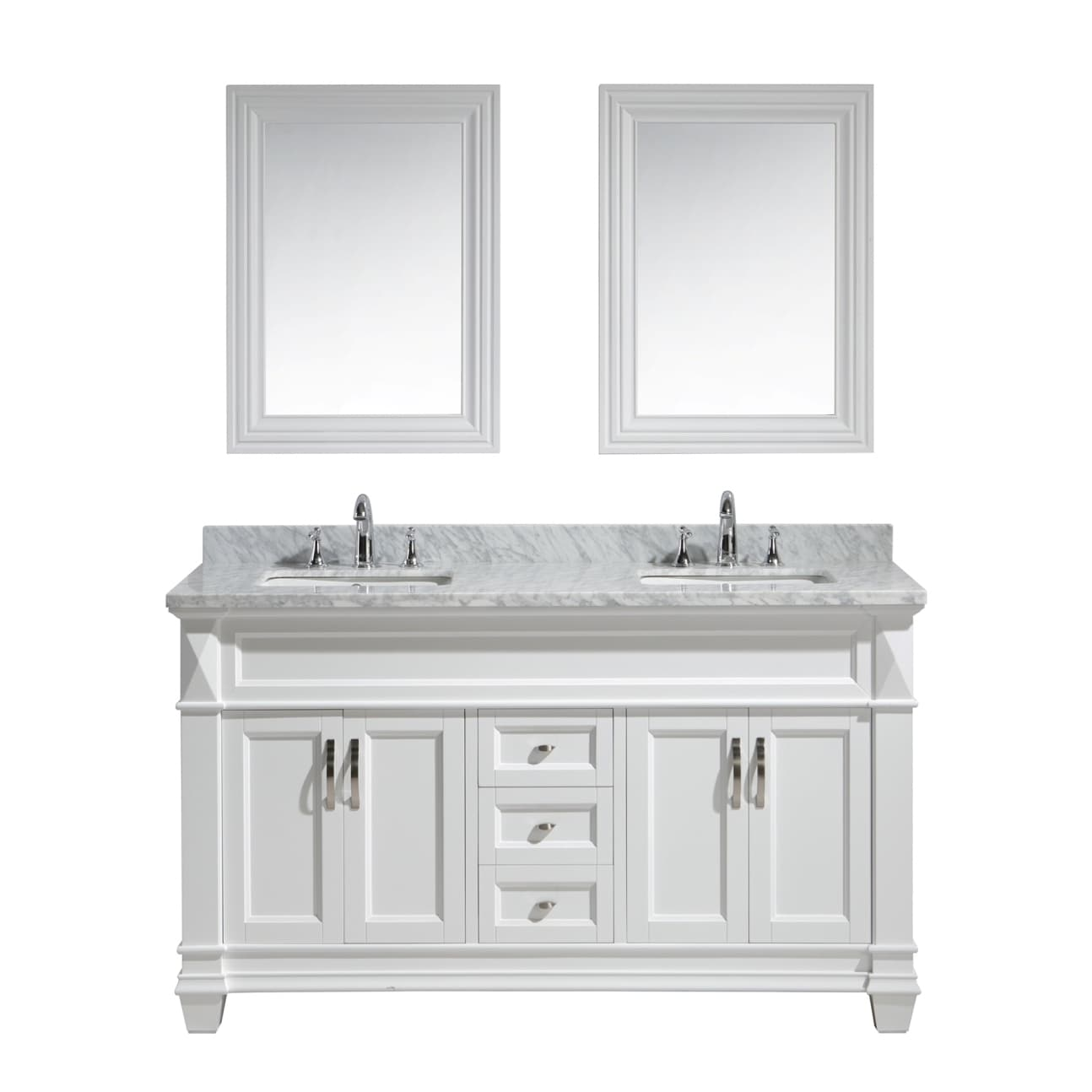 Design Element Hudson 60 Inch Double Sink Vanity Set In White With Carrara Marble Countertop Free Shipping Today 10521496