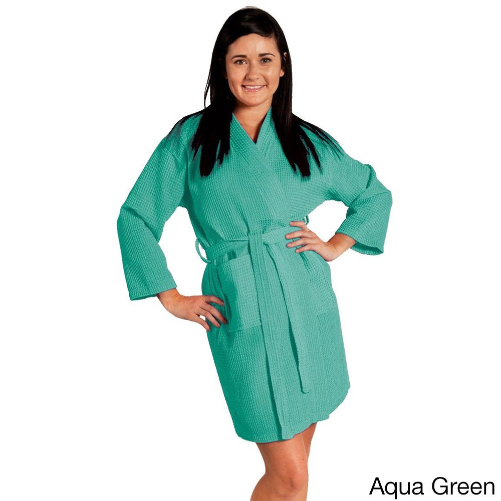 Shop Lightweight Waffle Kimono Unisex Spa Robe Square Pattern (One Size) -  Free Shipping On Orders Over  45 - Overstock - 10521685 f99763e43