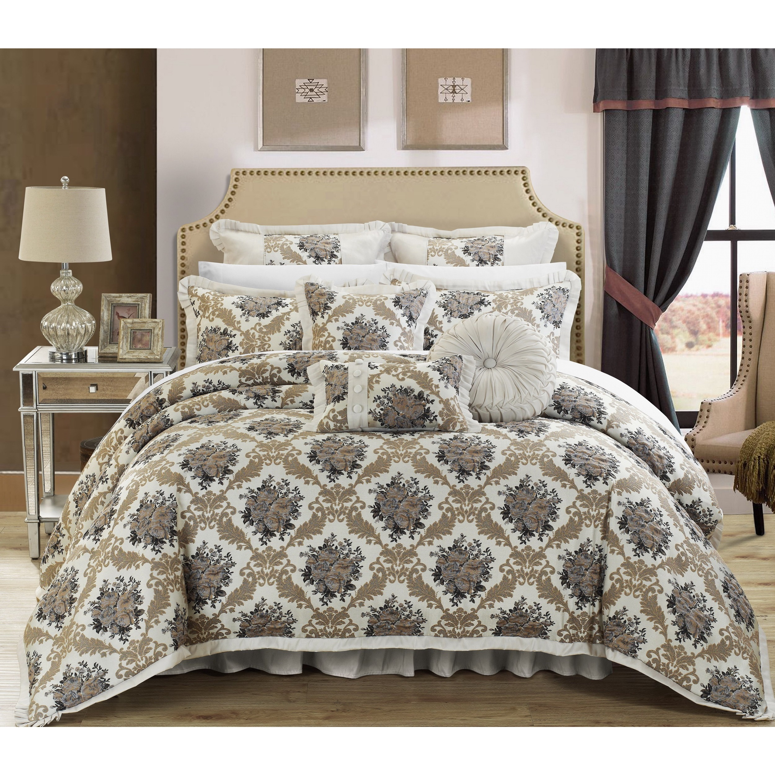 bedroom comforter kitchen quality blue decorator como com piece home motif amazon fabric chic king pillows upholstery dp set jacquard ensemble