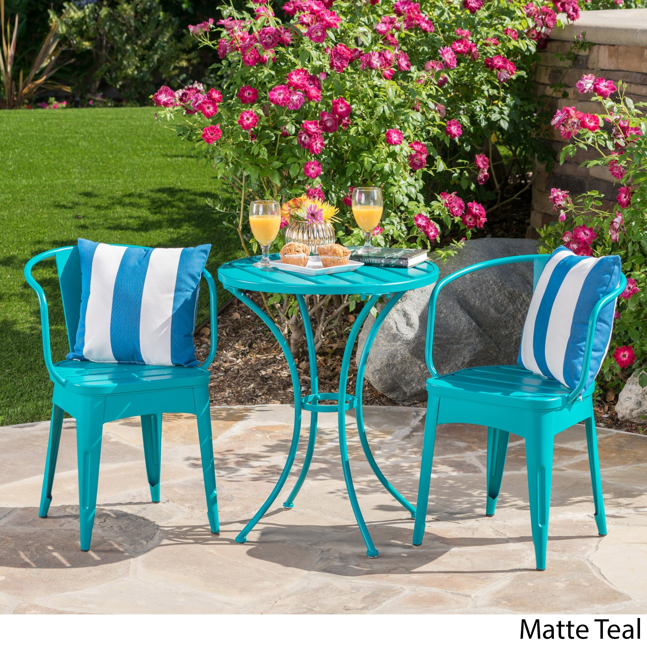 Shop Colmar Outdoor 3-piece Bistro Set by Christopher Knight Home ...