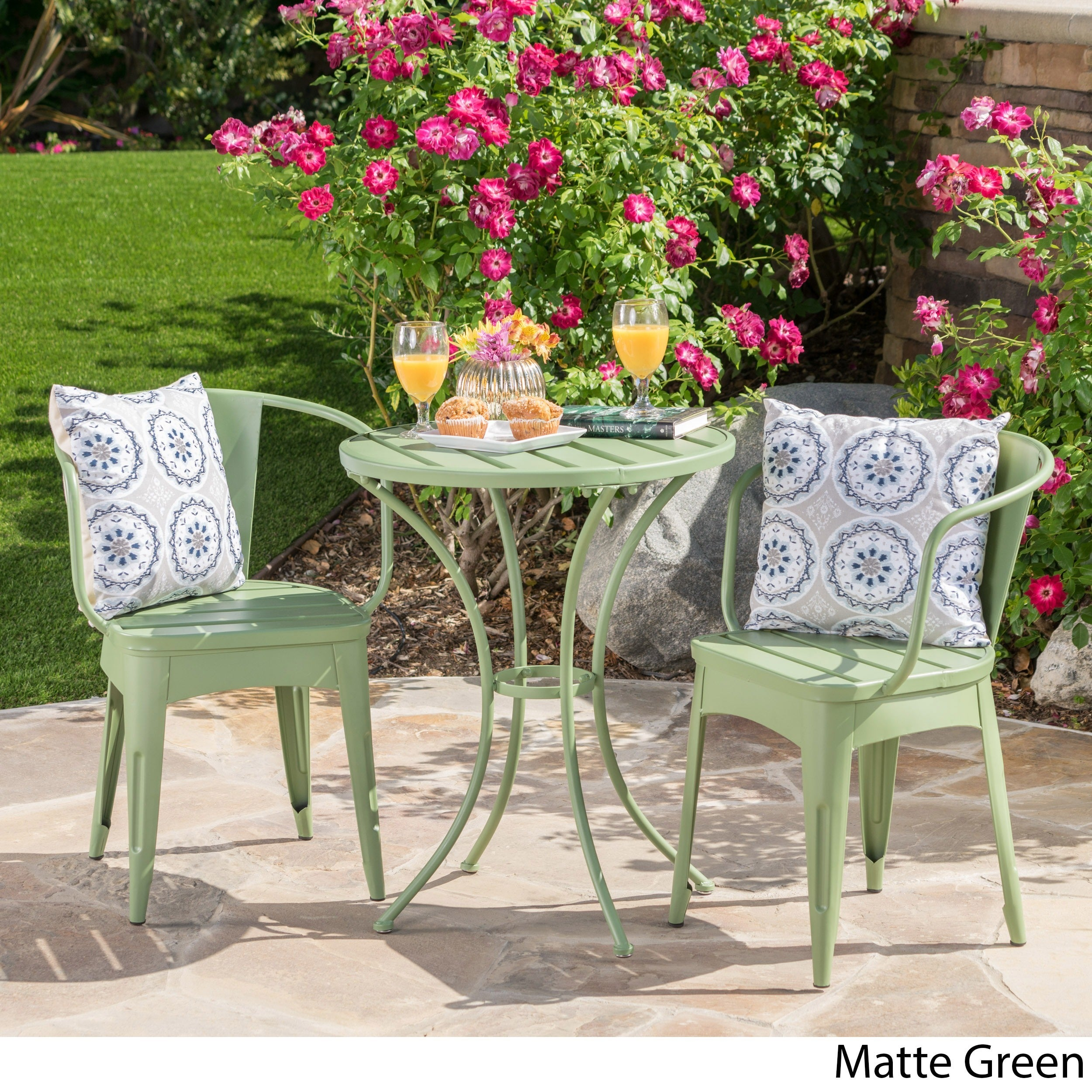 Shop Colmar Outdoor 3 Piece Bistro Set By Christopher Knight Home   Free  Shipping Today   Overstock.com   10527531