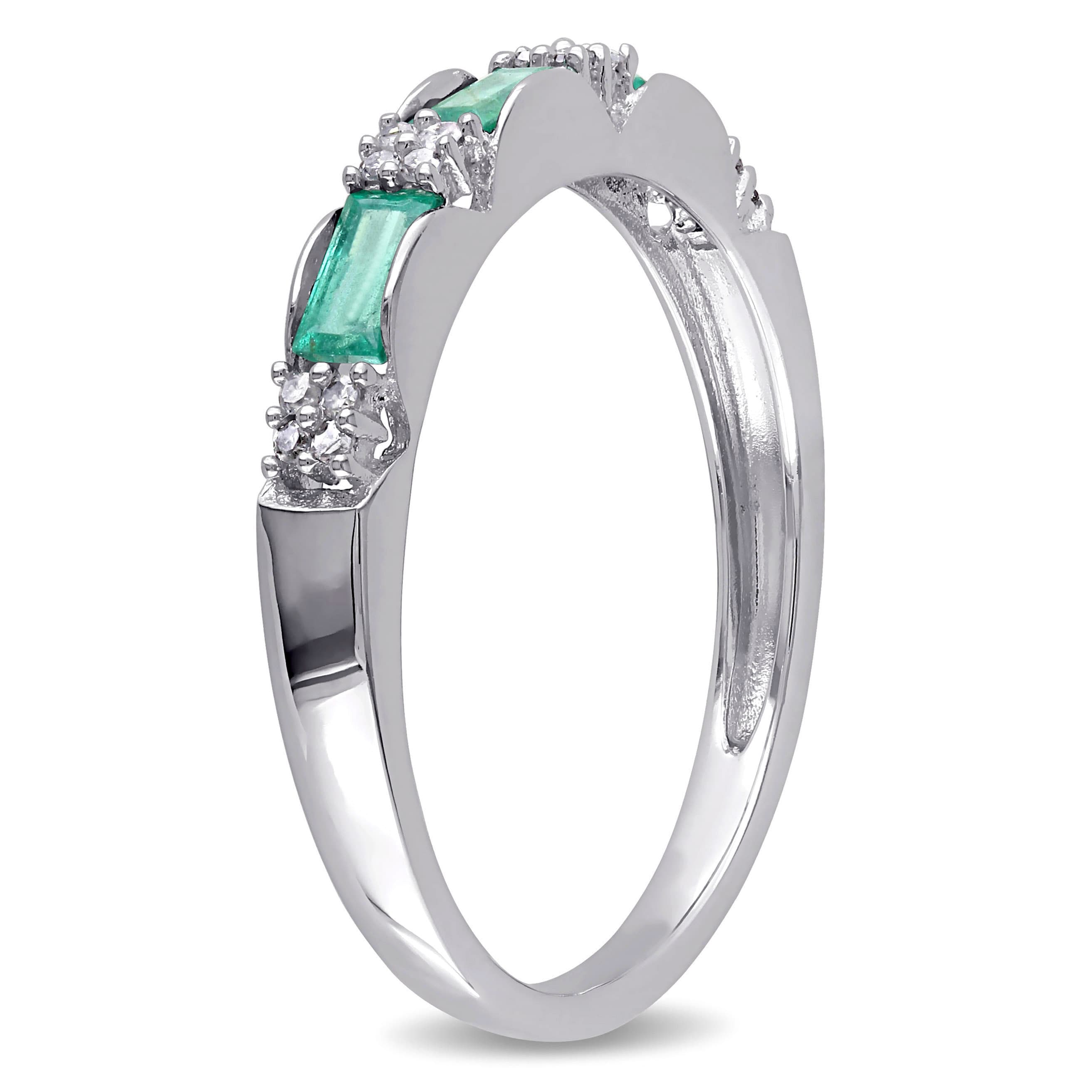 ring emerald in platinum cut tw wedding diamond