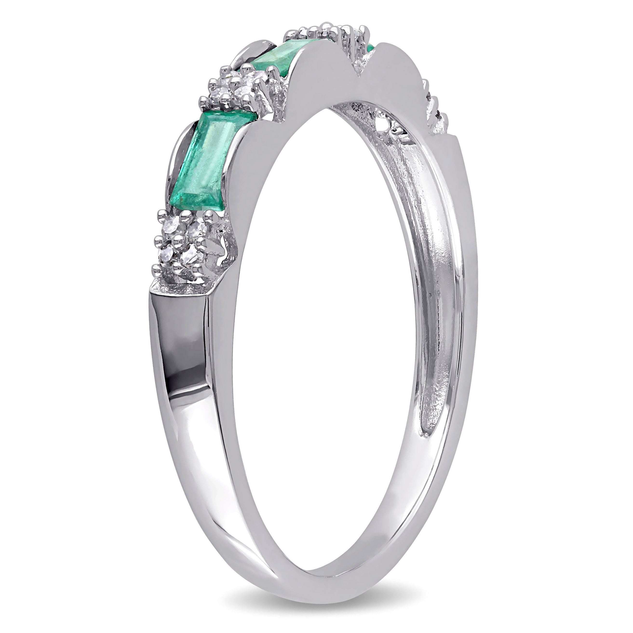 diamond image ring set in gold and white wedding emerald channel