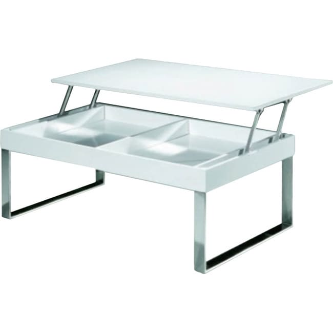 Shop Luca Home Chrome White Lacquer Coffee Table   Free Shipping Today    Overstock.com   10527866